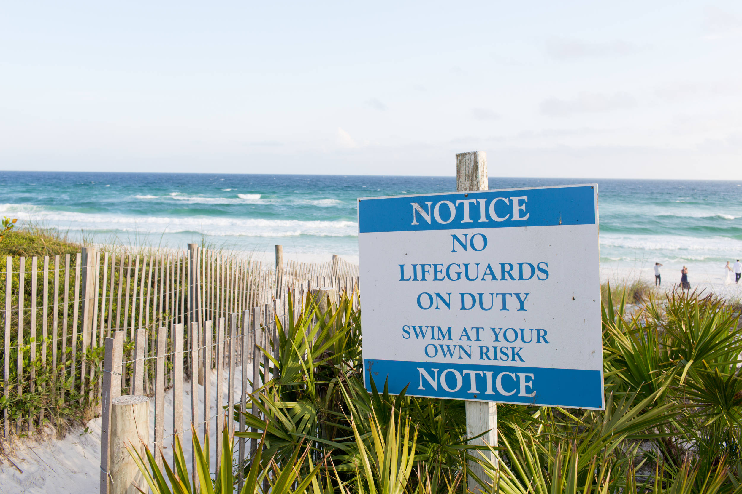 No Lifeguards on Duty sign at beach in Seaside, Florida