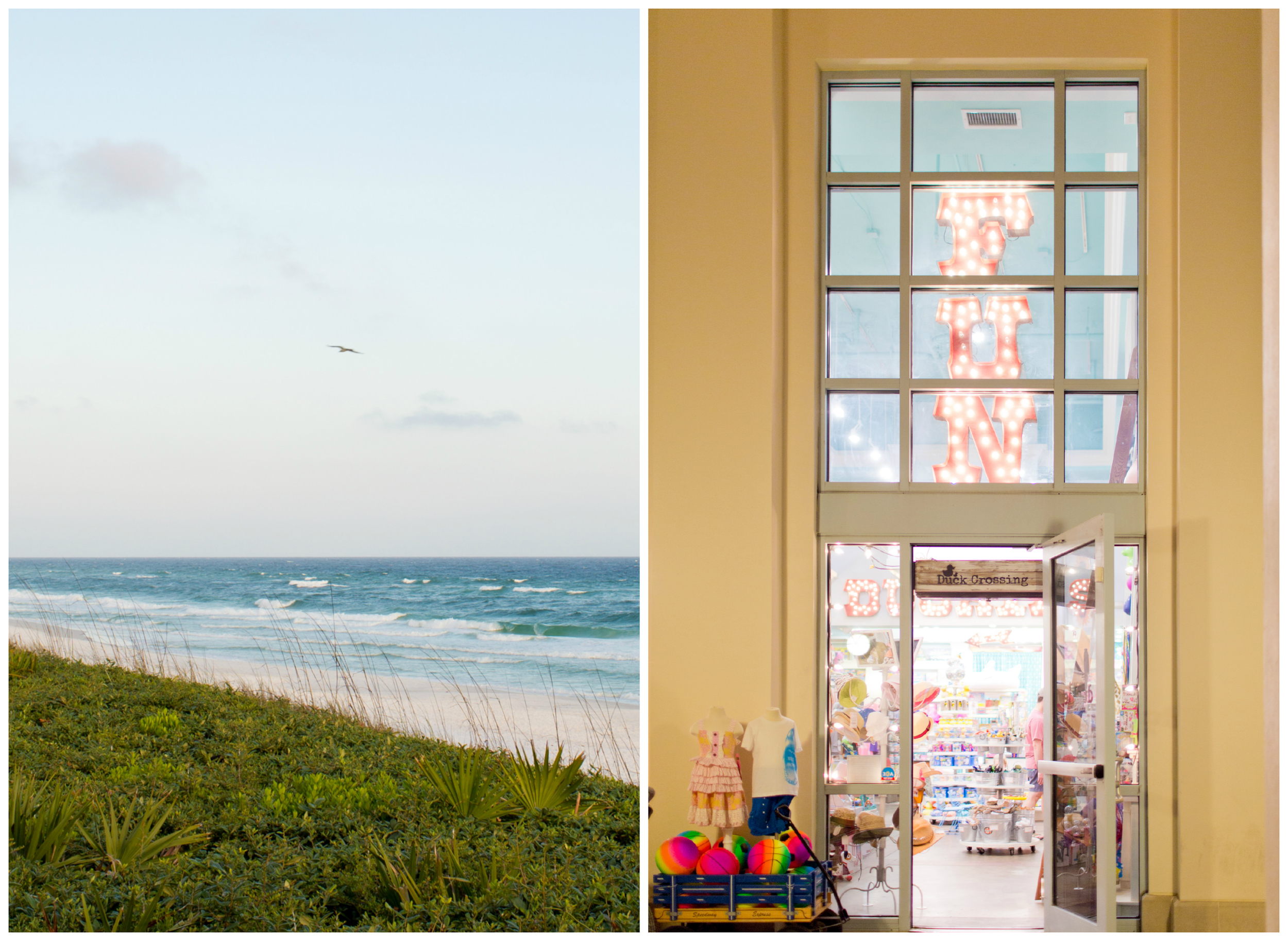 beach view and toy store in Seaside, Florida