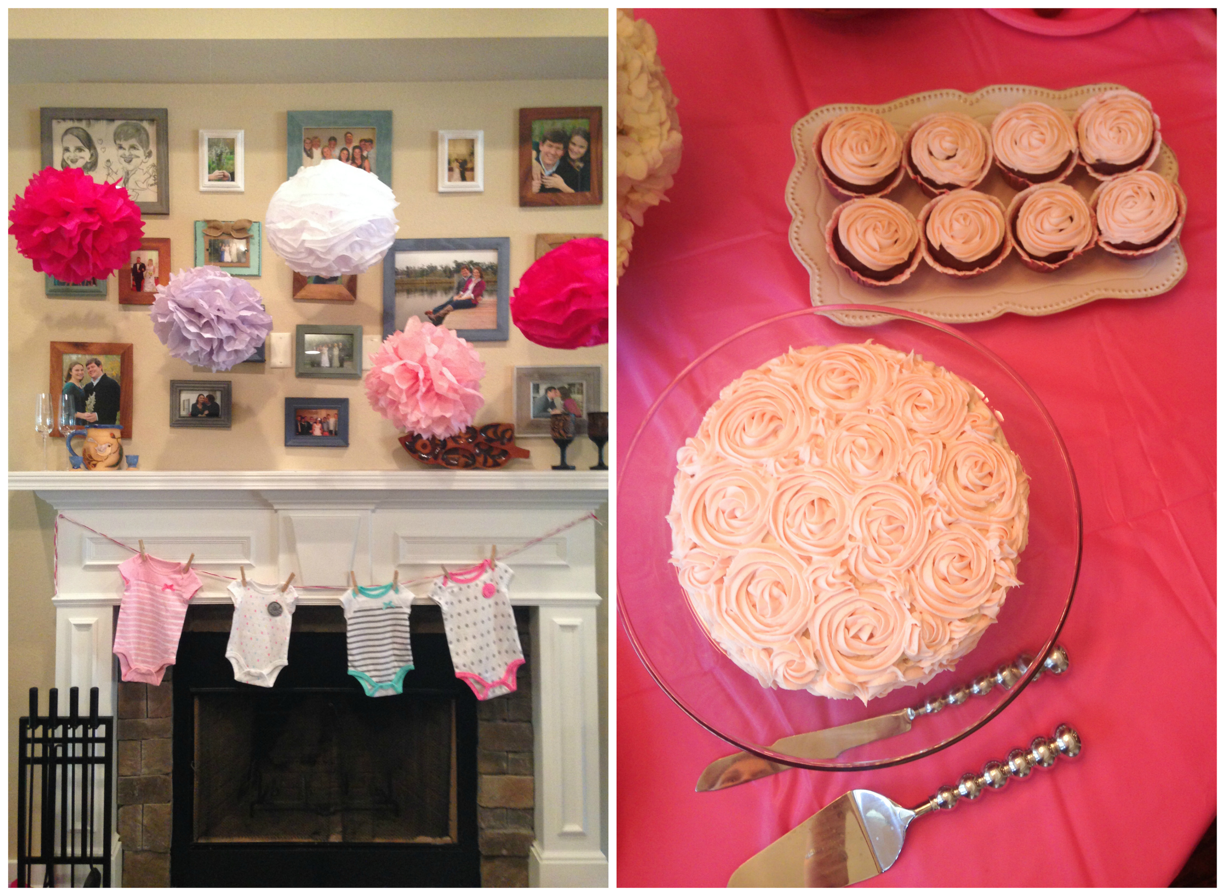 pink baby shower cake and decor (girl)