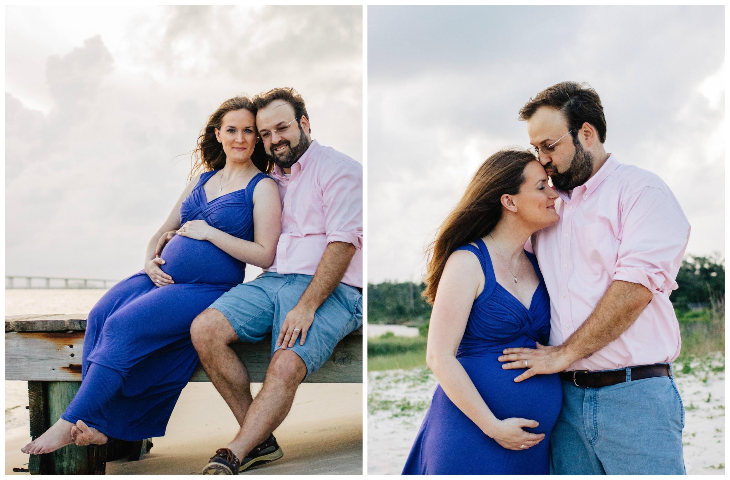 couple maternity photos on beach