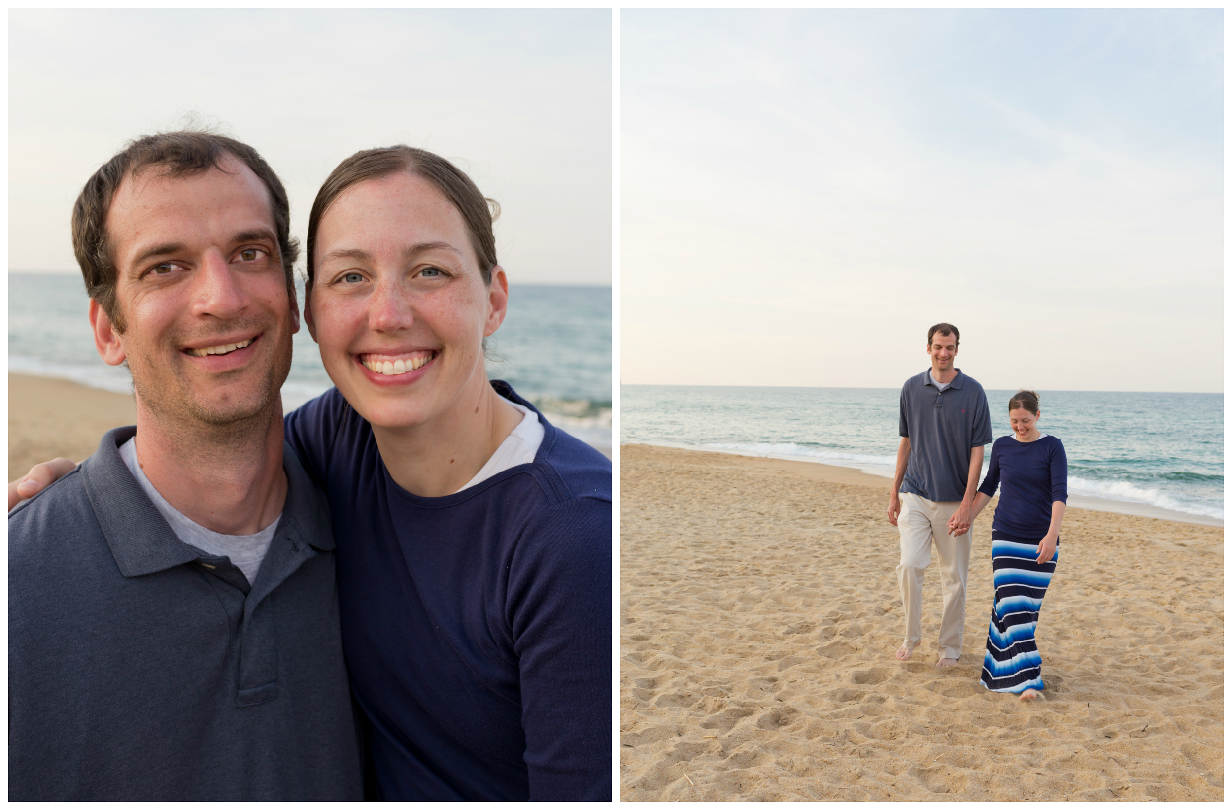 couple portraits at beach in Duck, NC