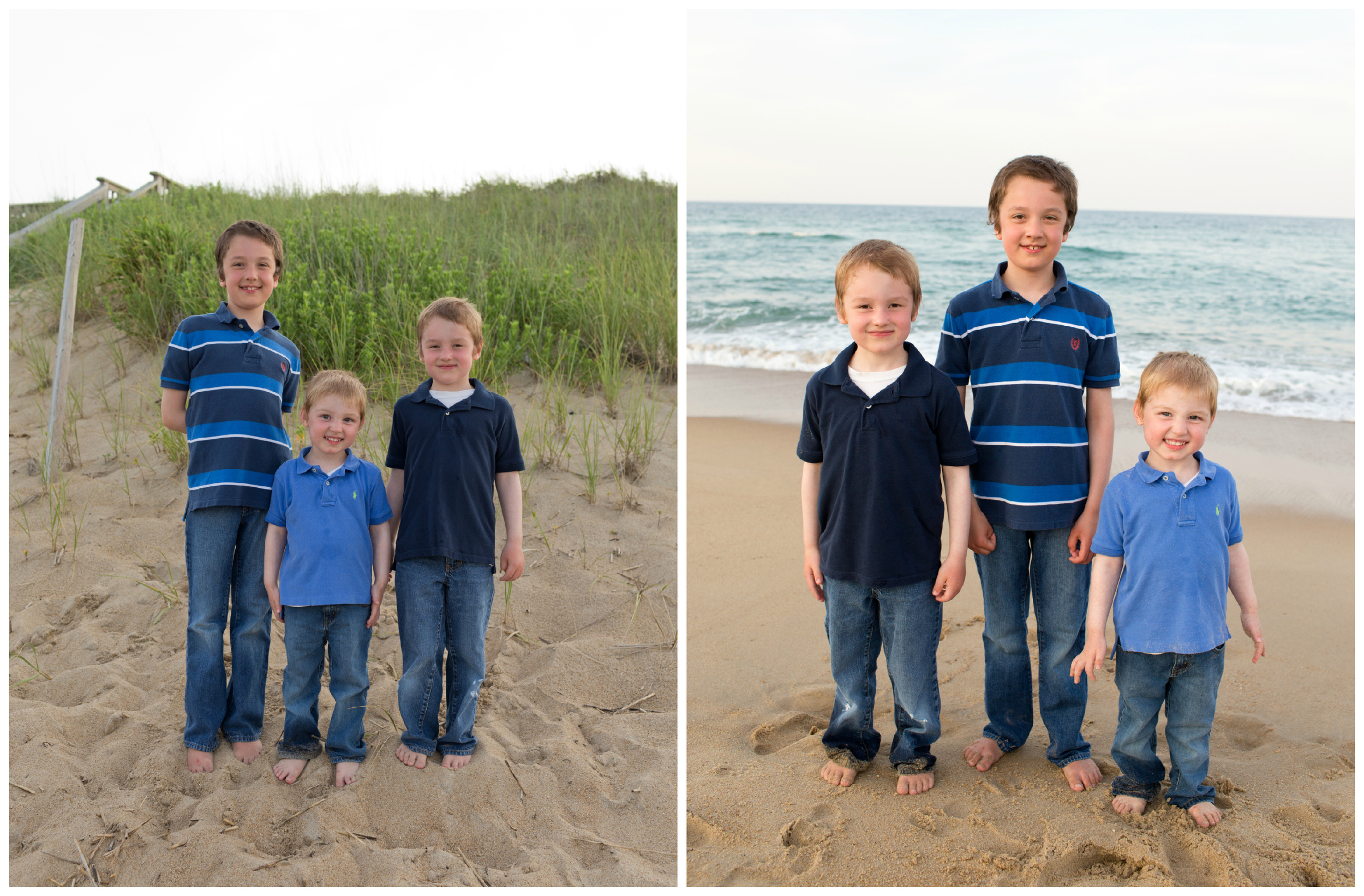 three little boys (brothers) at Outer Banks beach