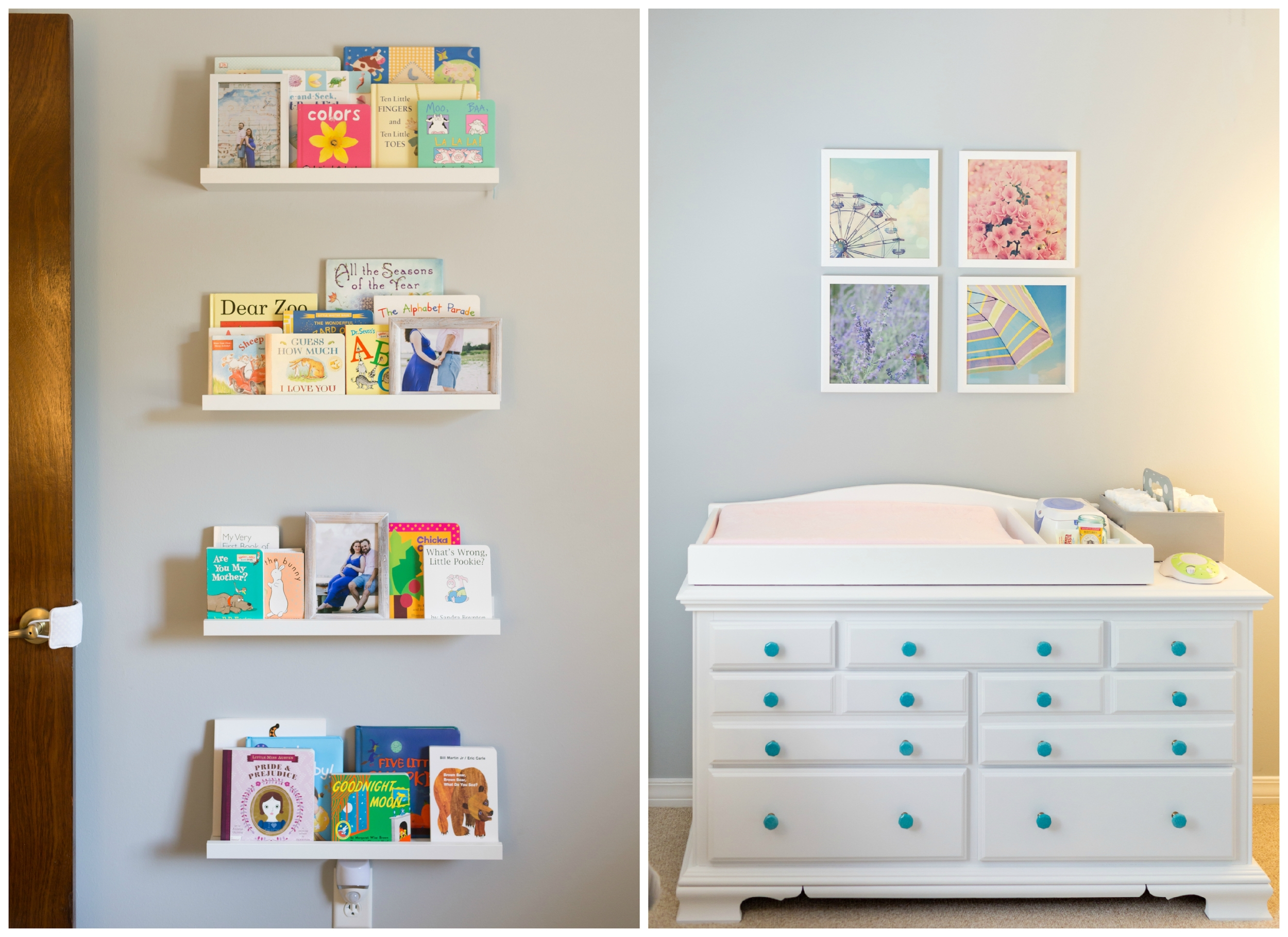 girl nursery decor with Ikea bookshelves, dresser changing table, and Uninvented Colors Photography wall art