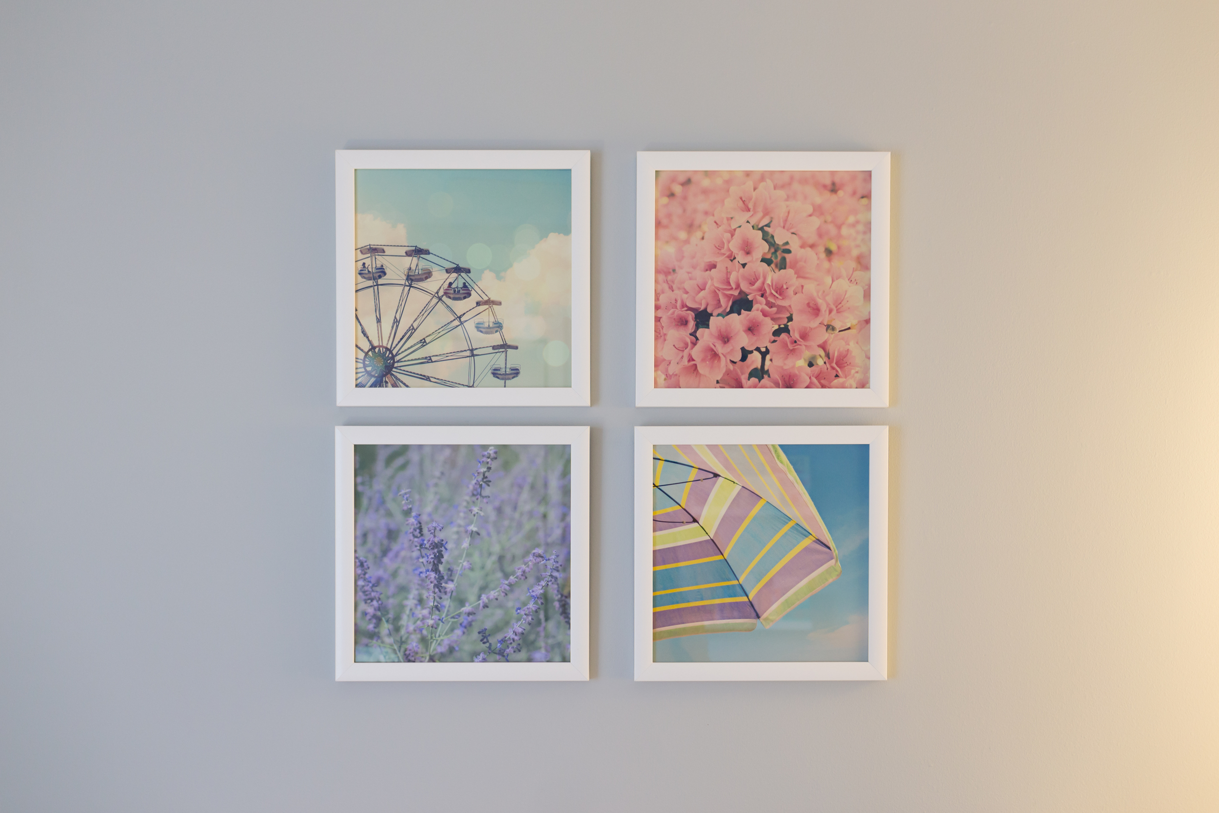 Uninvented Colors Photography pastel nursery wall art (florals, umbrella, ferris wheel)