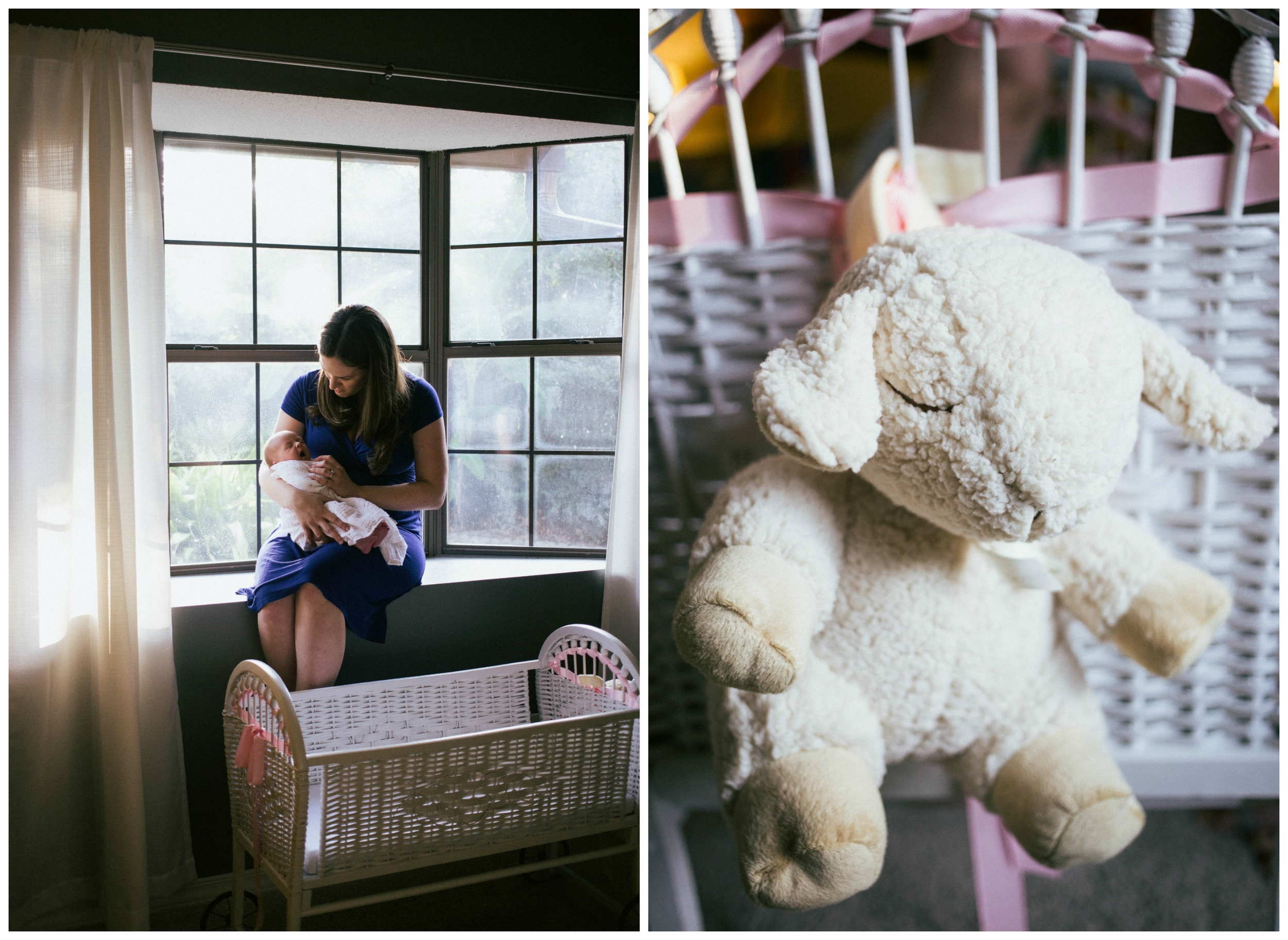 new mom with baby girl in bay window, sleep sheep on bassinet