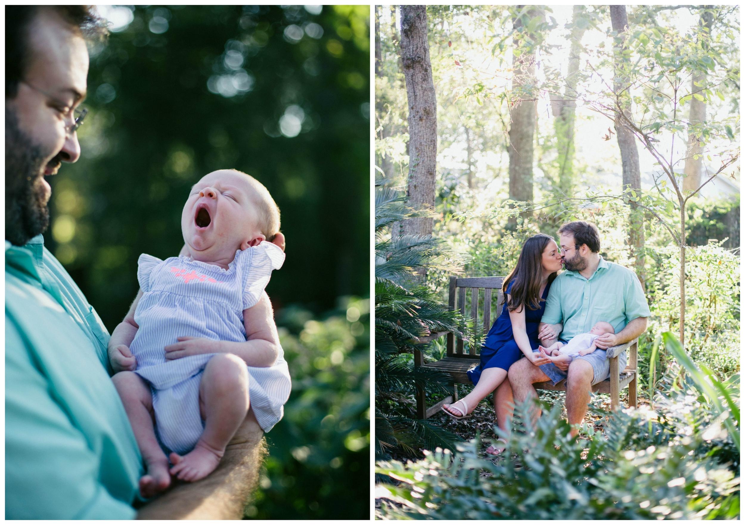 newborn baby girl yawning outdoos