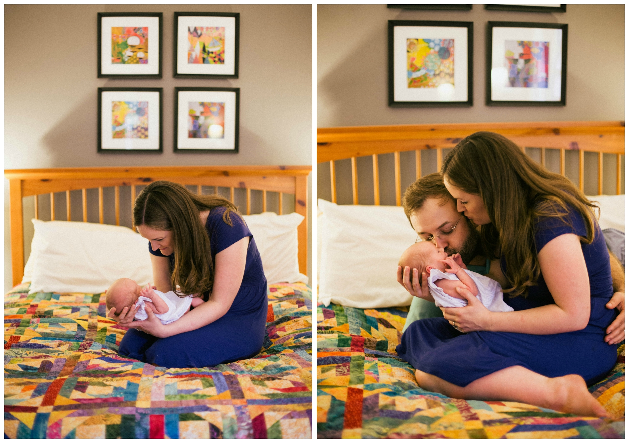 newborn lifestyle family photos on bed with colorful quilt