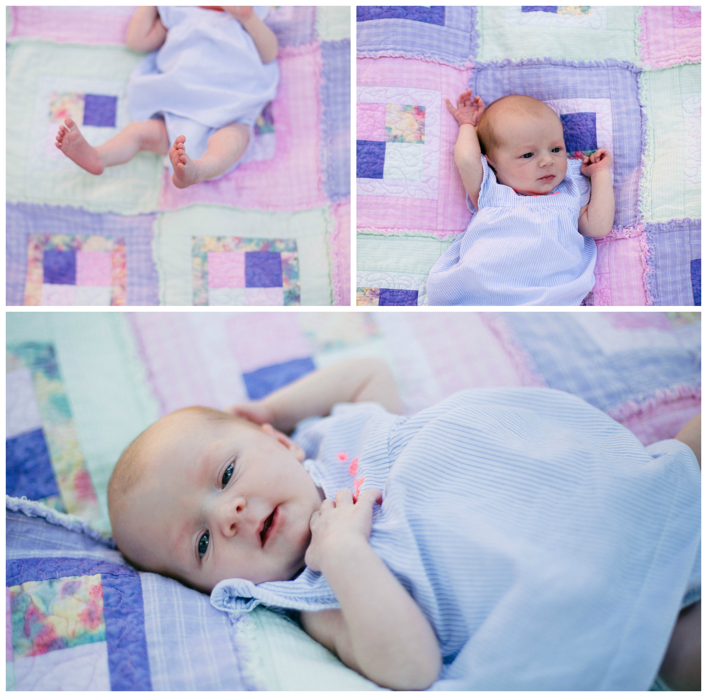 baby girl on pastel quilt