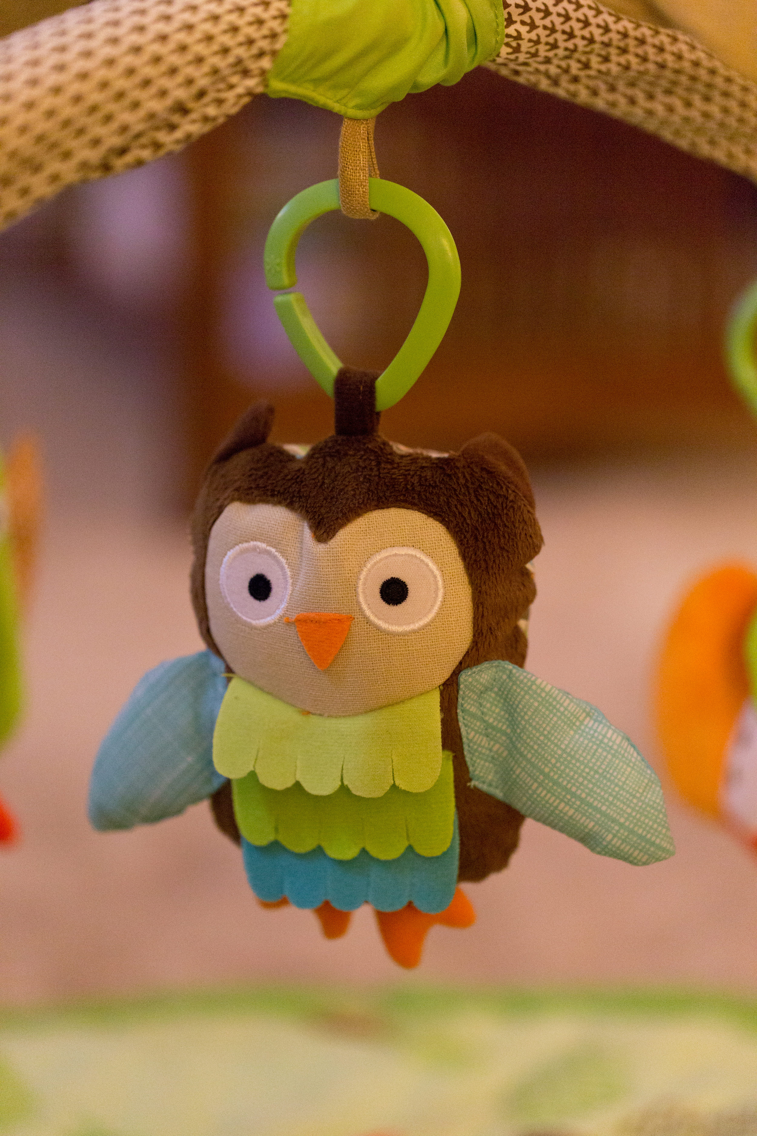 toy owl on baby play gym