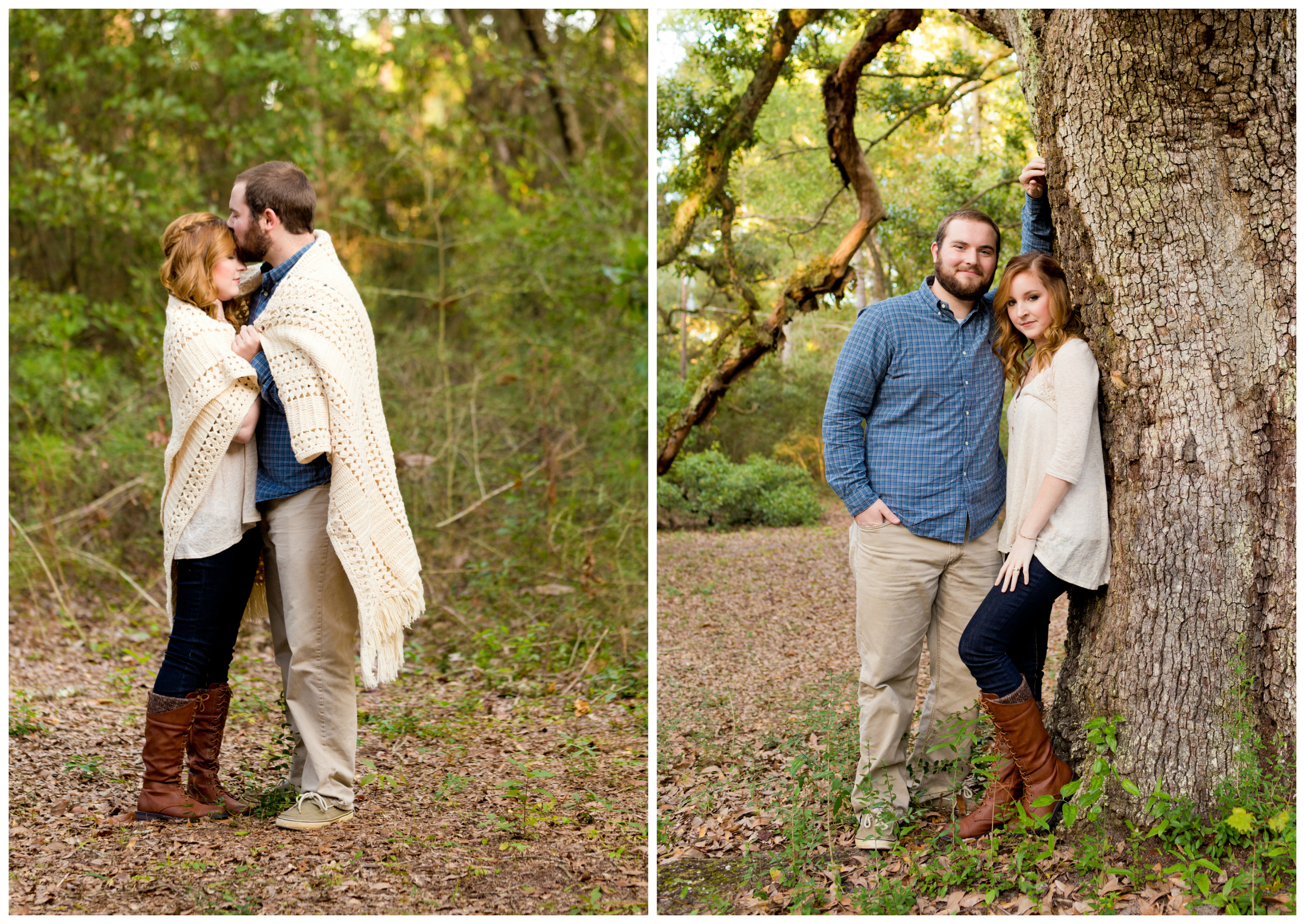 Ocean Springs outdoor engagement photography with live oak trees, blanket