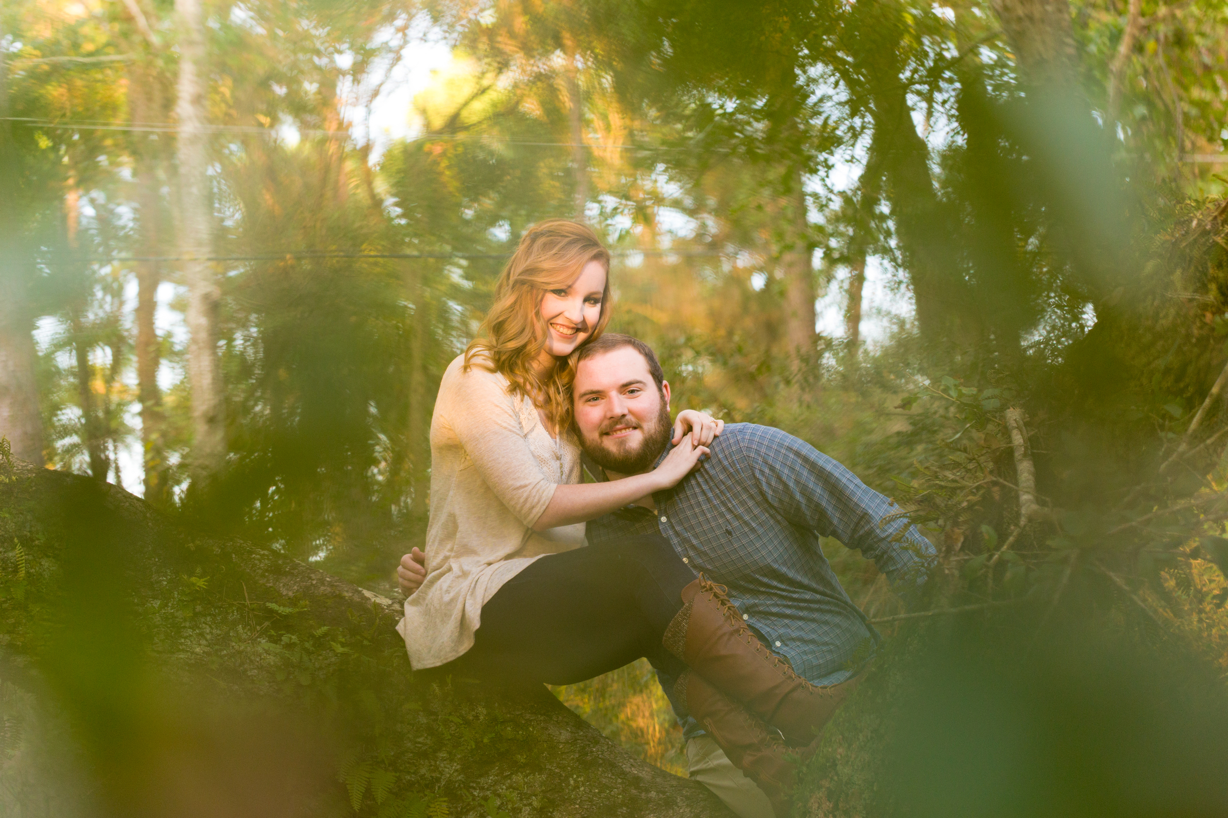 cute engagement photo of couple climbing tree (Ocean Springs, Mississippi)