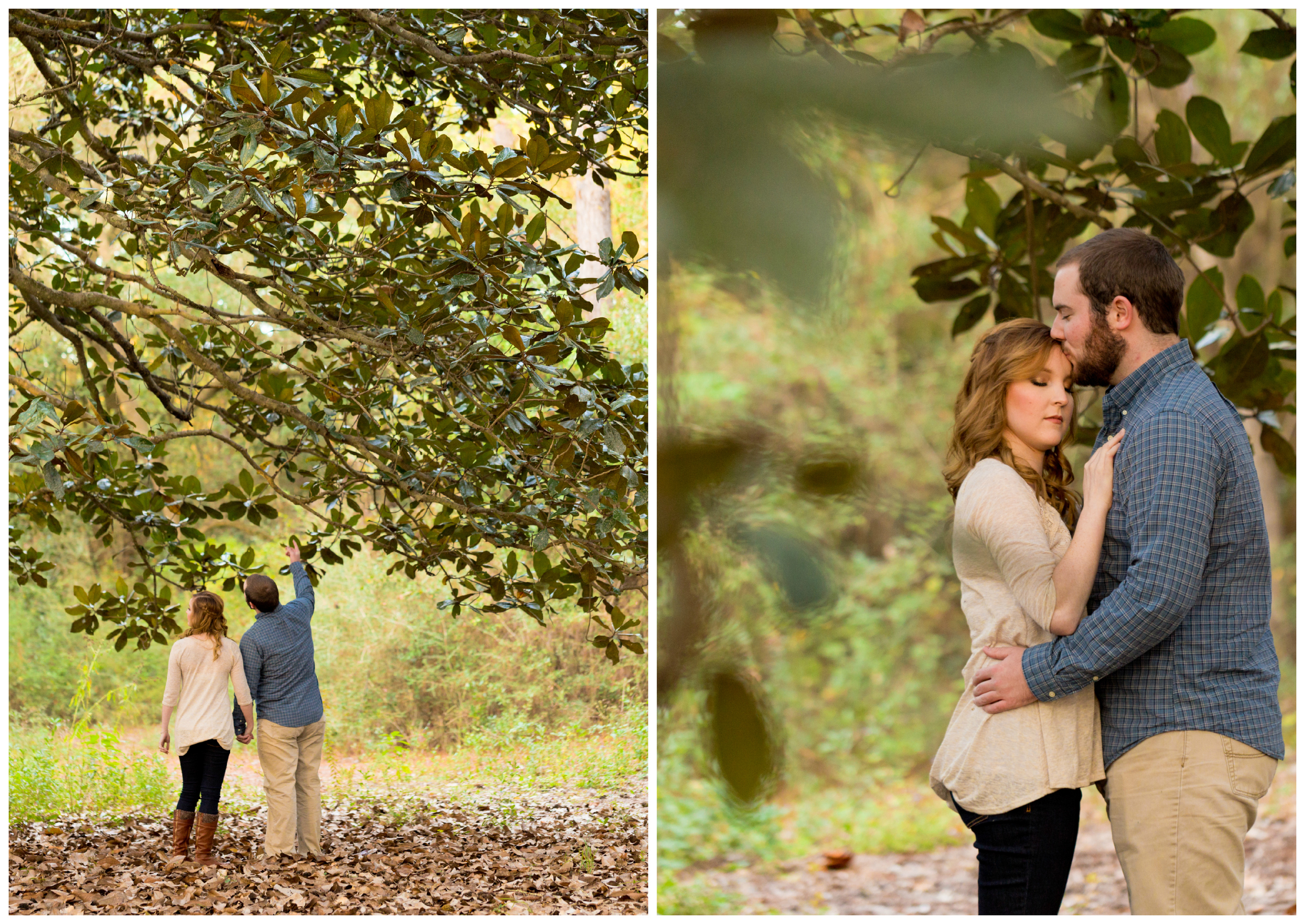 romantic, candid engagement photos with magnolia tree (Ocean Springs engagement photography)