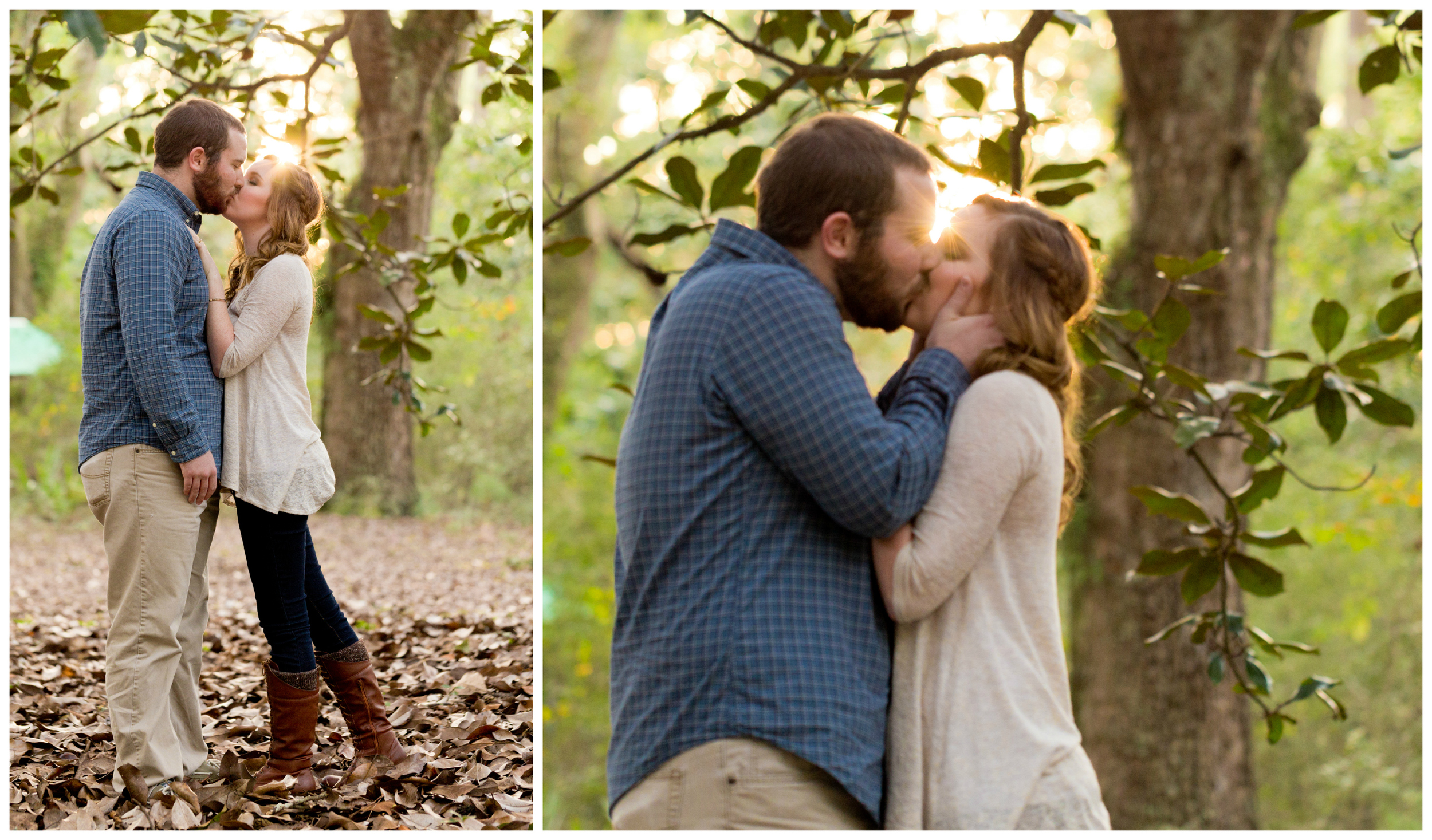 kissing engagement photo with sun flare (Ocean Springs nature)