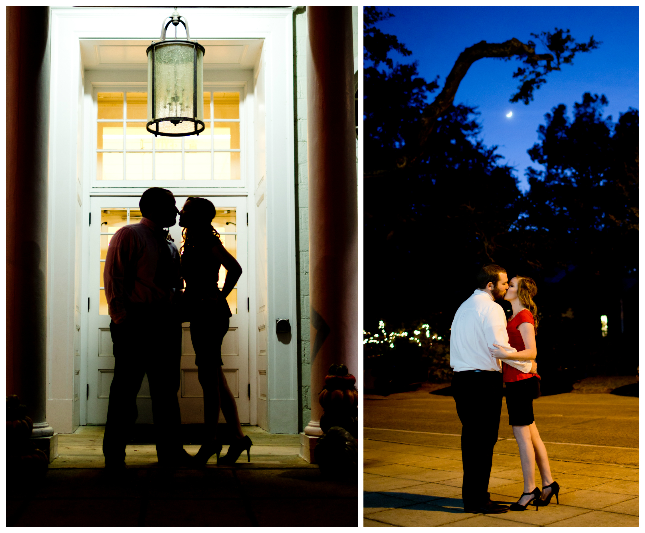 night time engagement session (moon, silhouette)