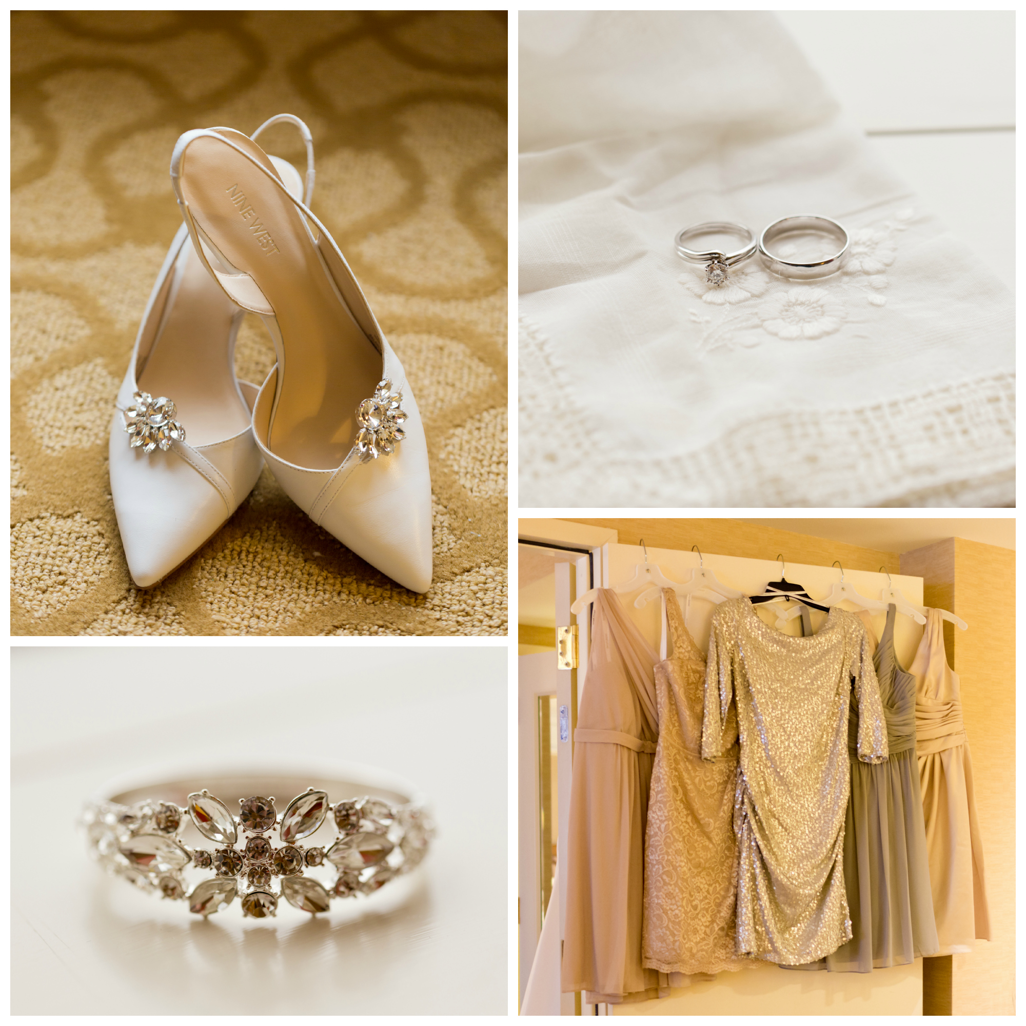Cream, Gray, Champagne wedding details (shoes, rings, bracelet, bridesmaid dresses)