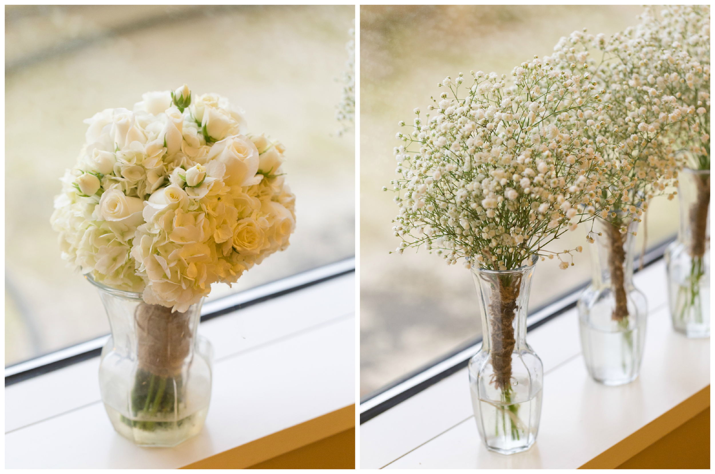 white wedding bouquets (bride and bridesmaids) with roses and baby's breath