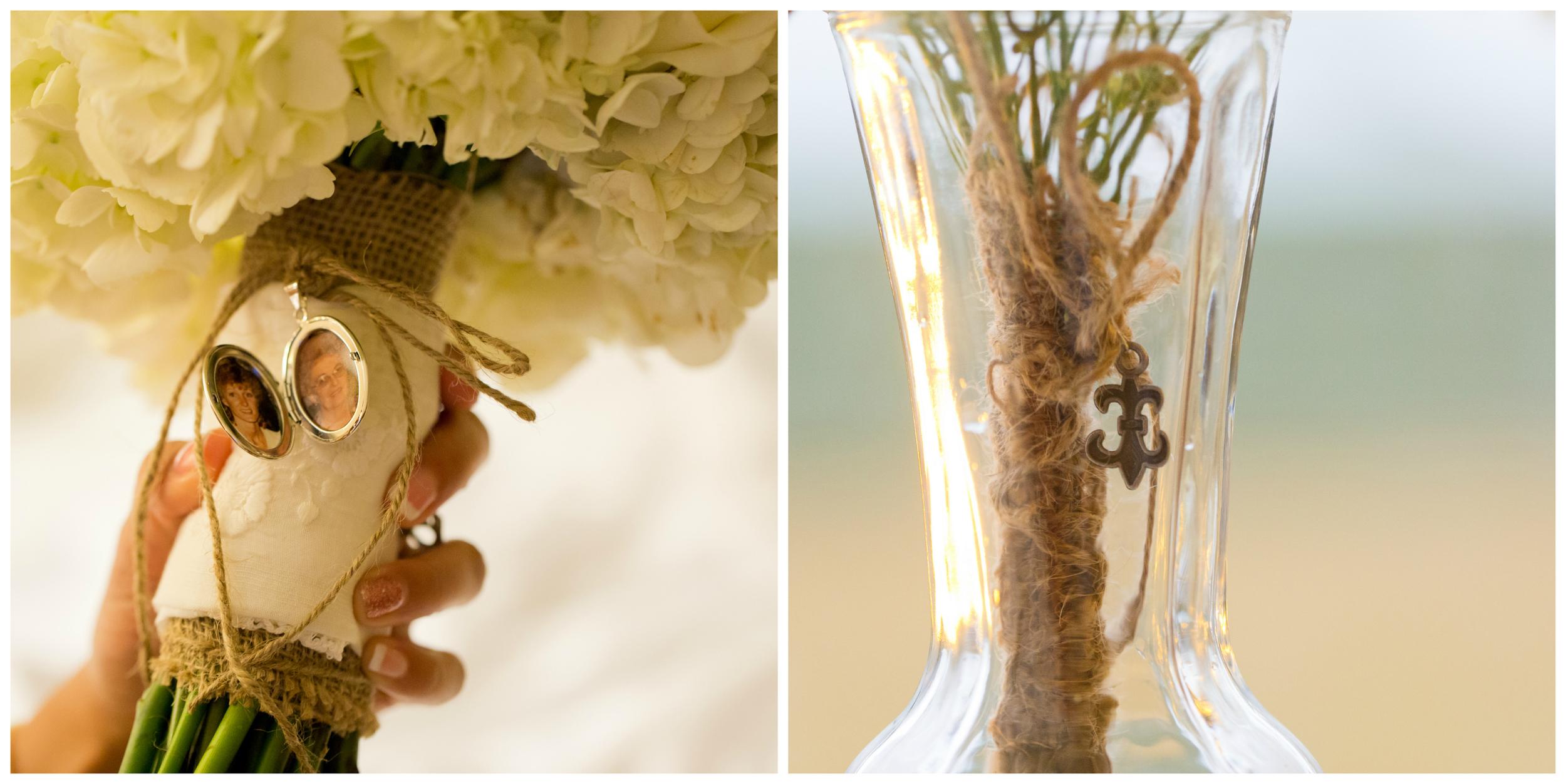 grandmothers in lock on bride's bouquet, fleur de lis charm on bridesmaid bouquets