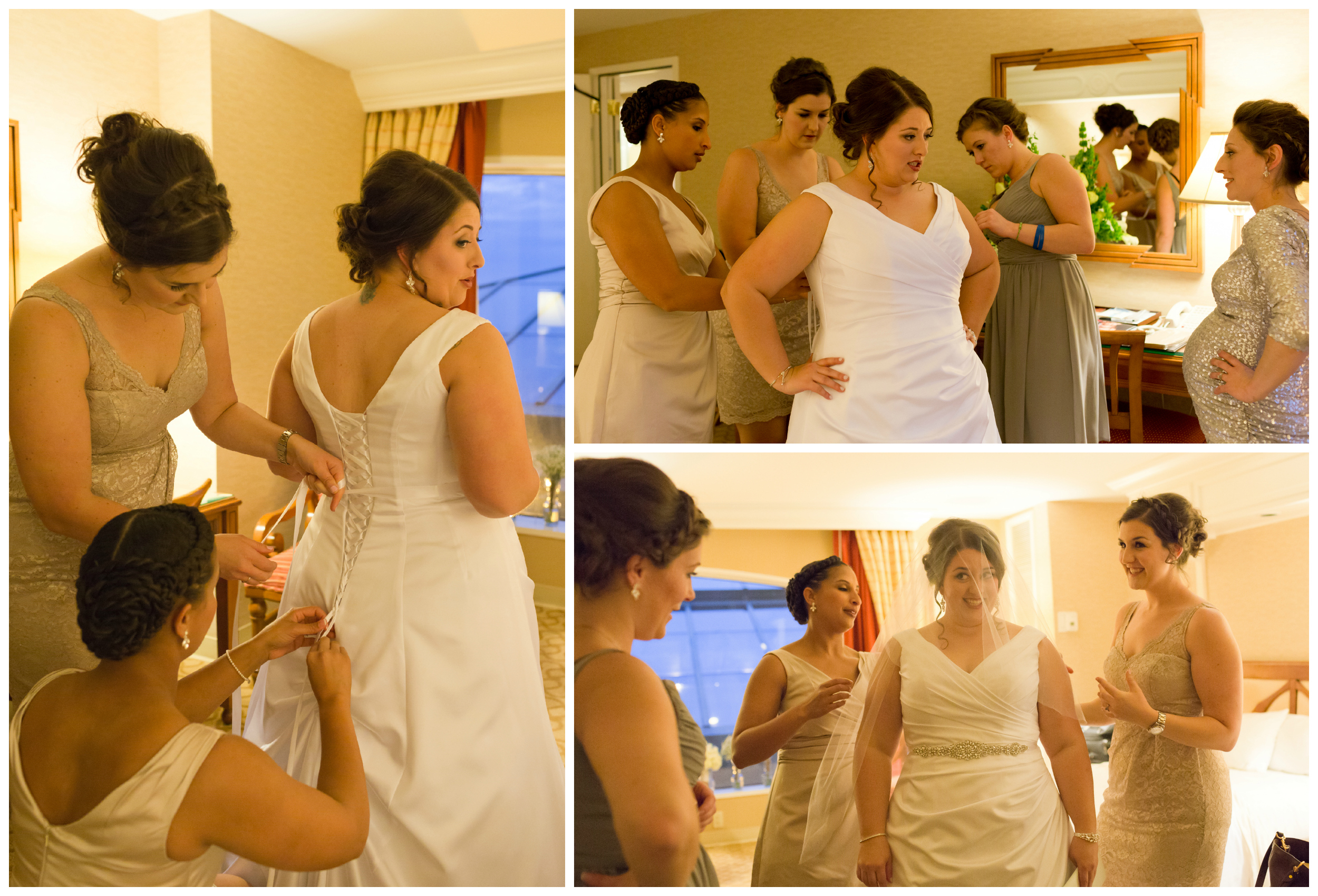 bridesmaids helping bride put on wedding dress in hotel room