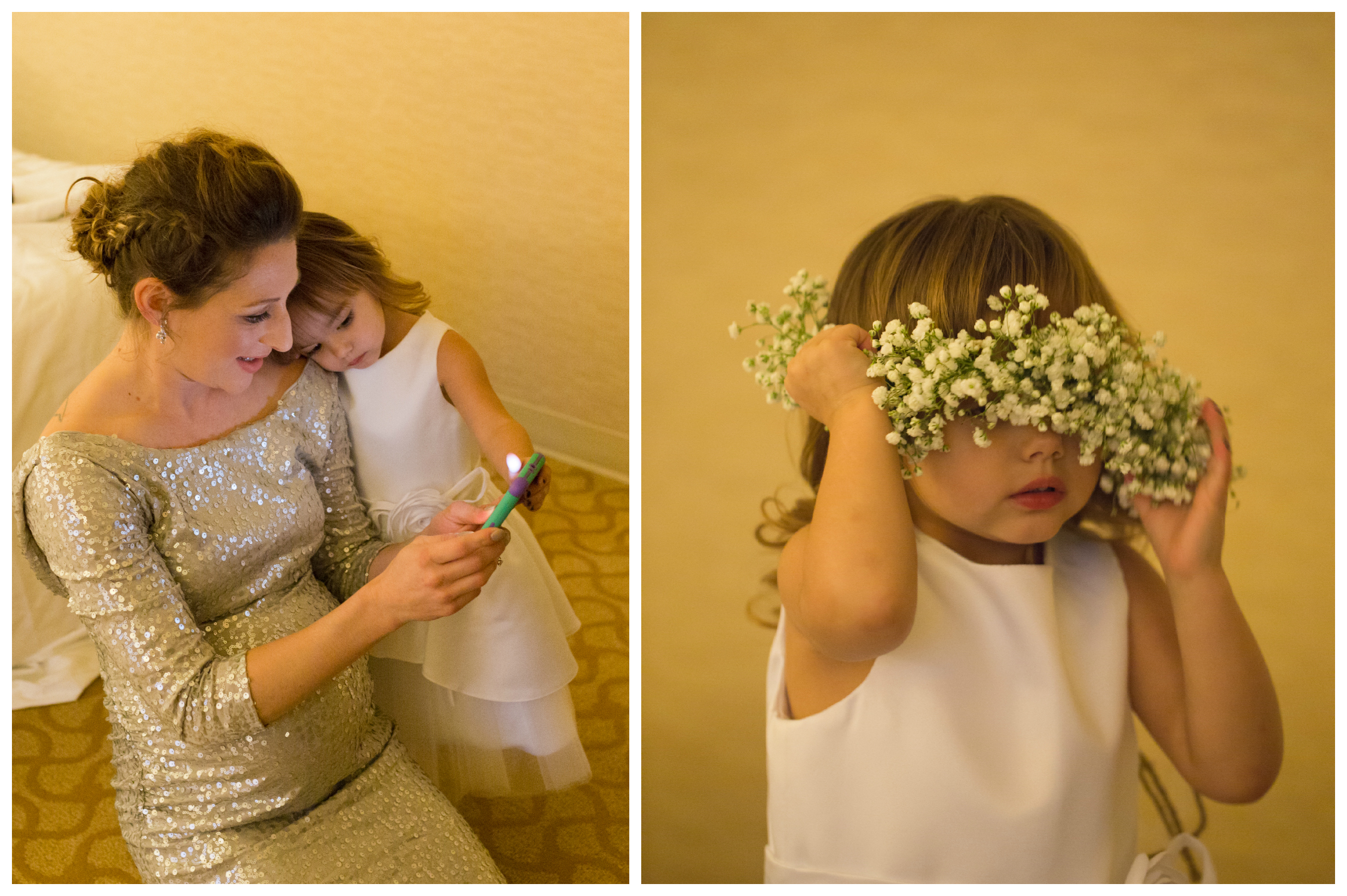 mother and daughter, matron of honor and flower girl
