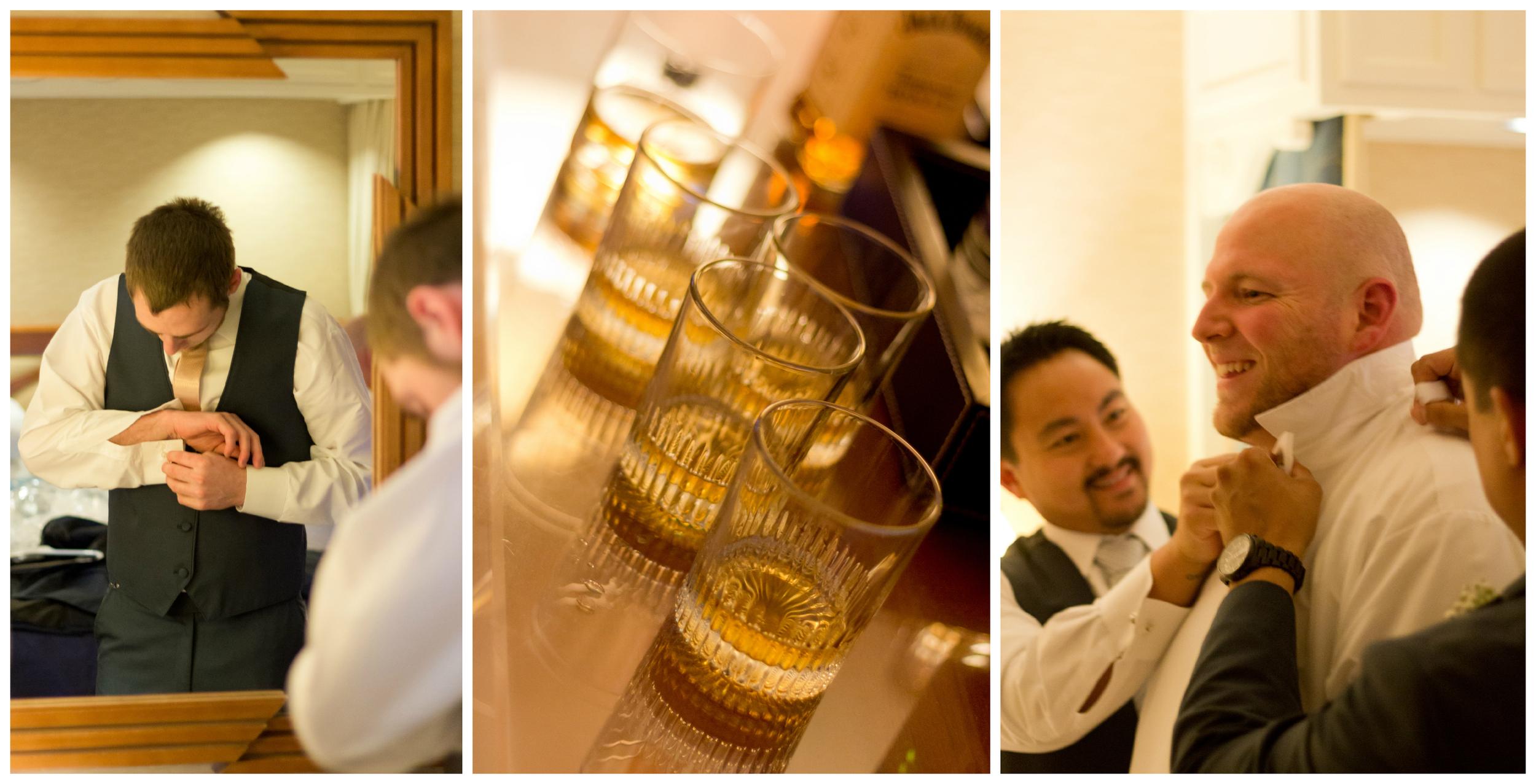 groom and groomsmen getting ready for wedding (bowtie, shot glasses, cufflinks)