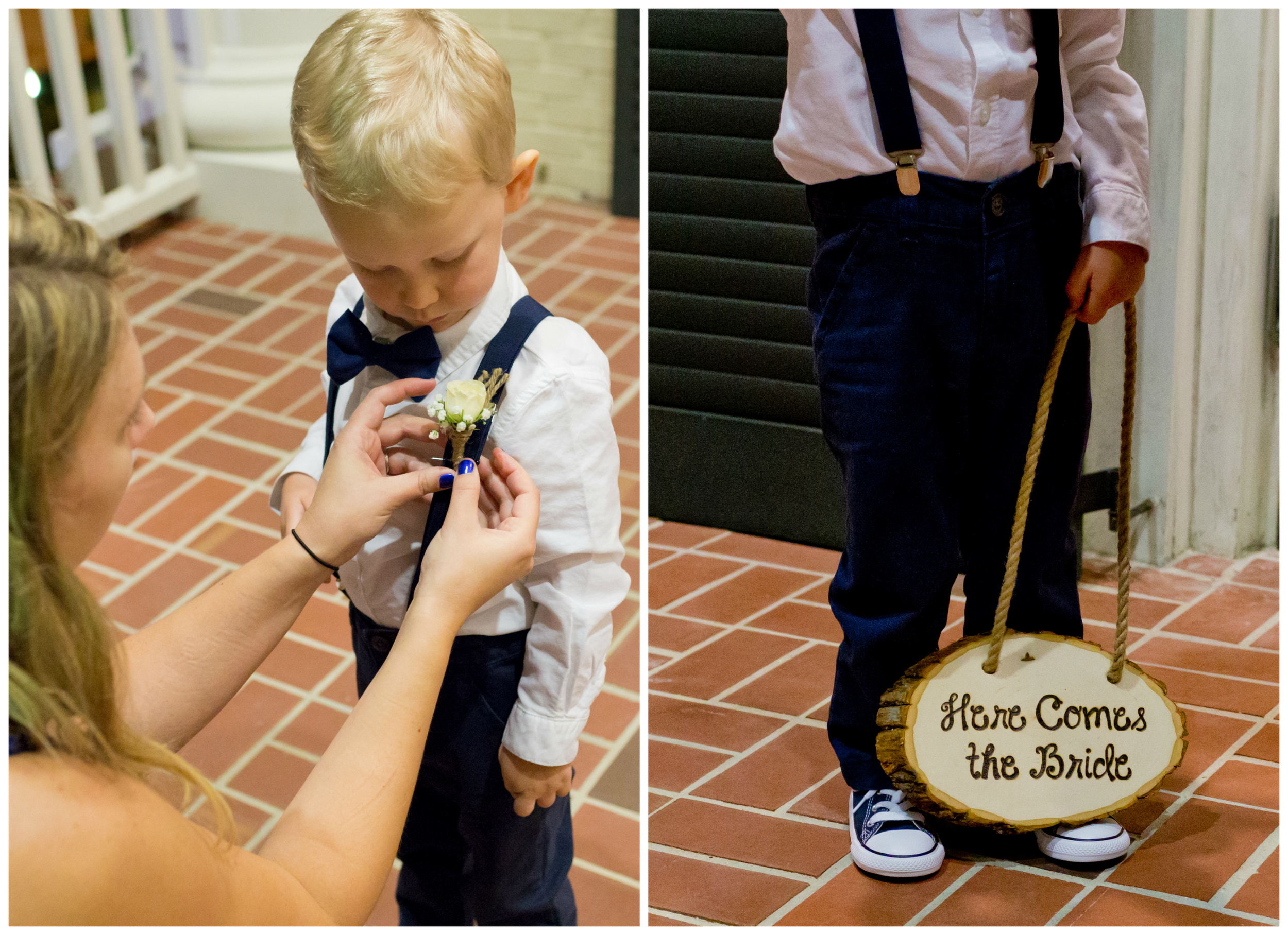 """cute ring bearer with """"here comes the bride"""" sign"""