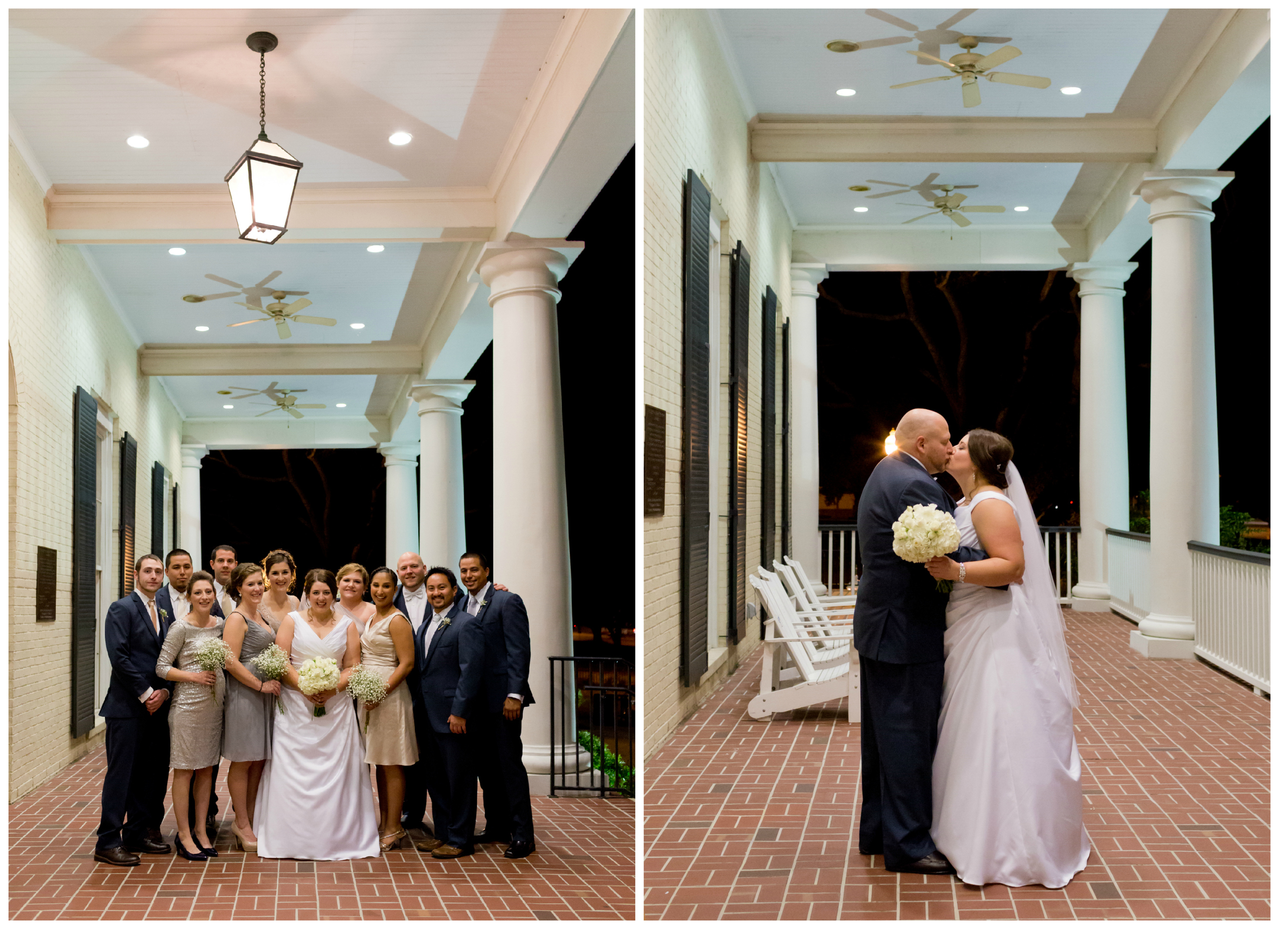 wedding party photos on porch at Biloxi Visitors Center