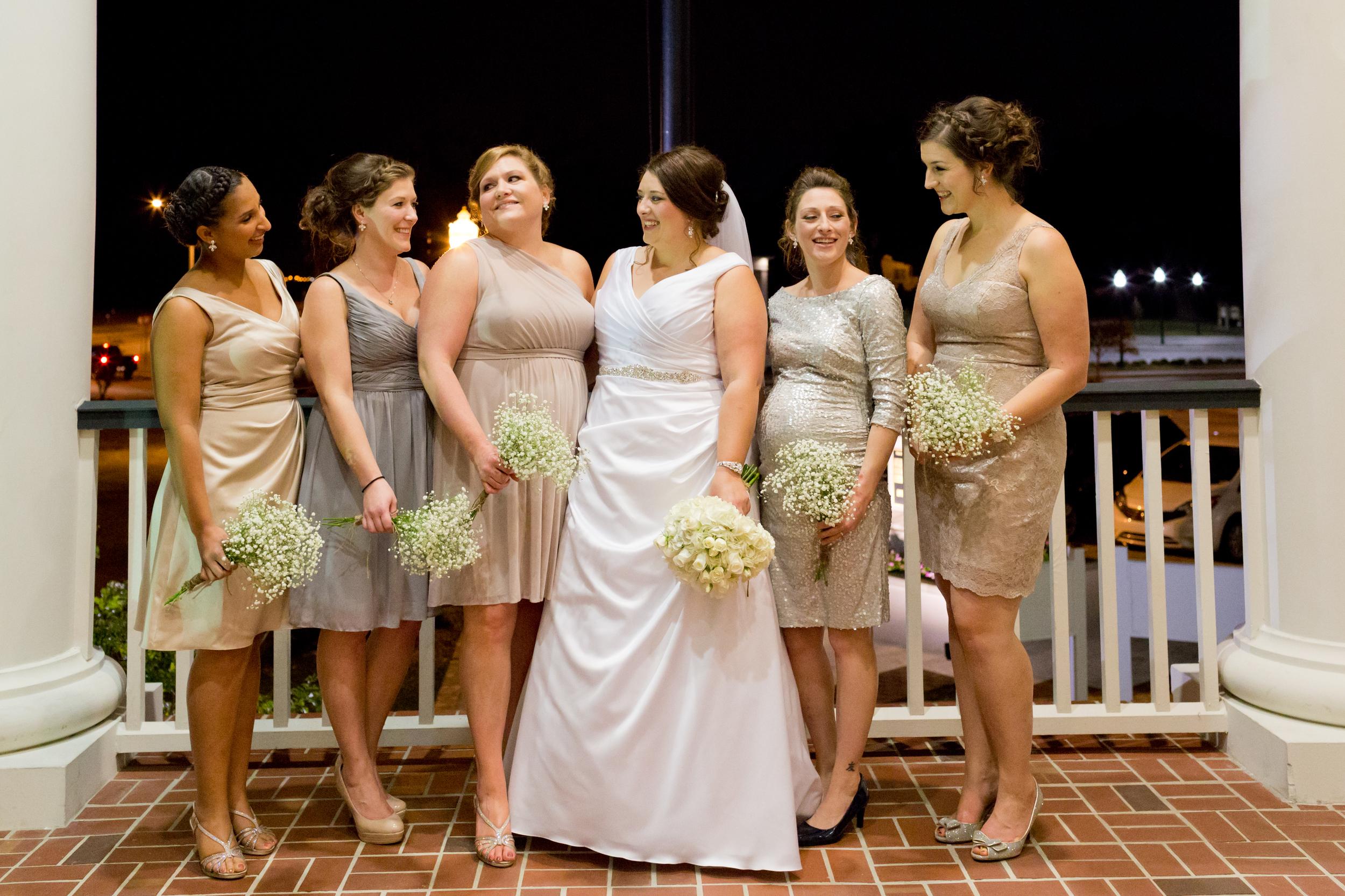 bridesmaids on porch at Biloxi Visitors Center