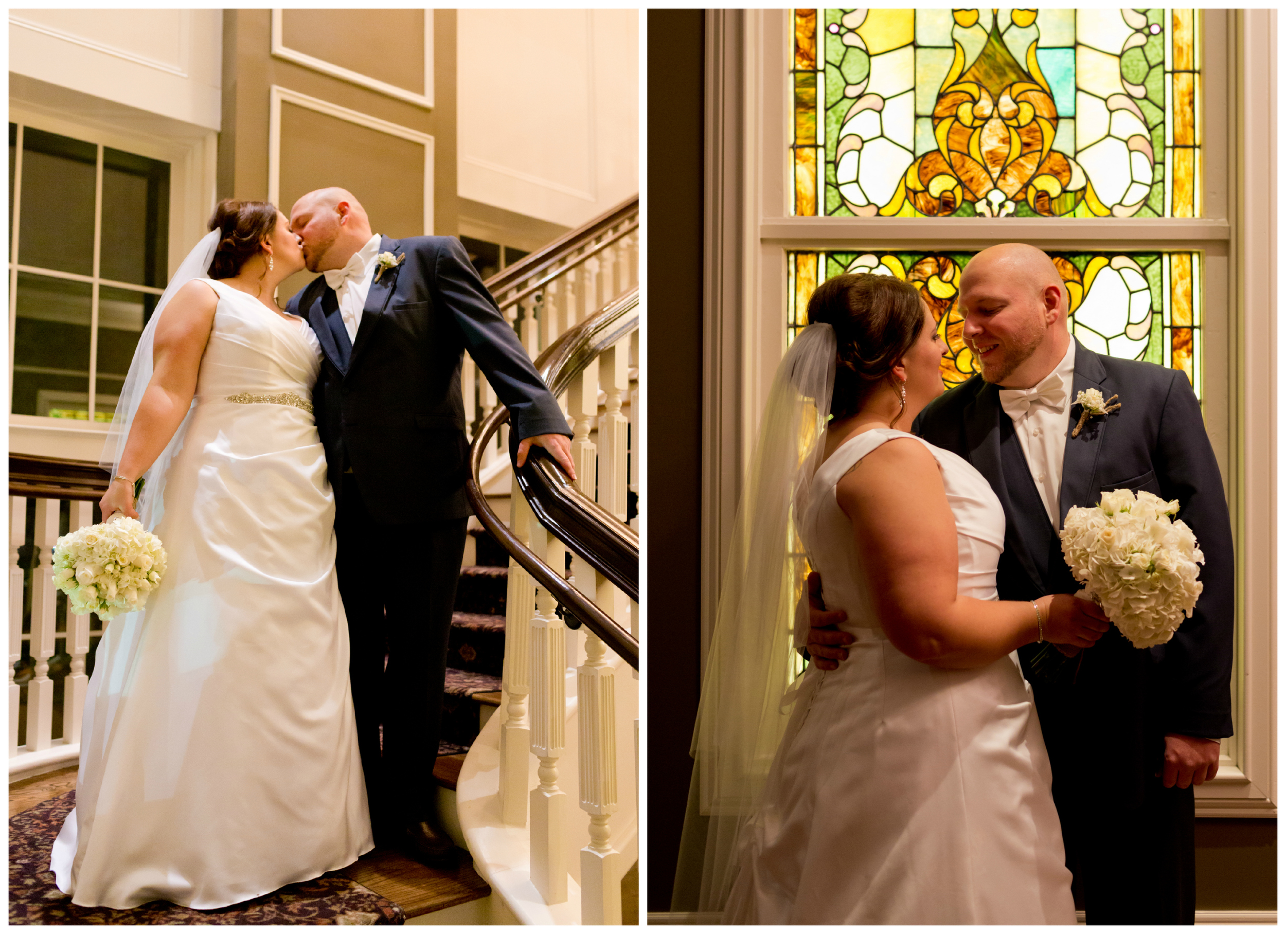 bride and groom portraits with staircase and stained glass at Biloxi Visitors Center wedding venue