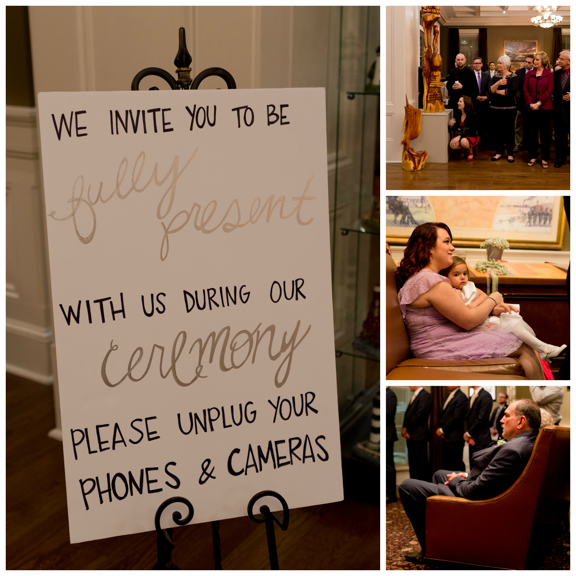 sign for wedding guests to put away phones and cameras during ceremony