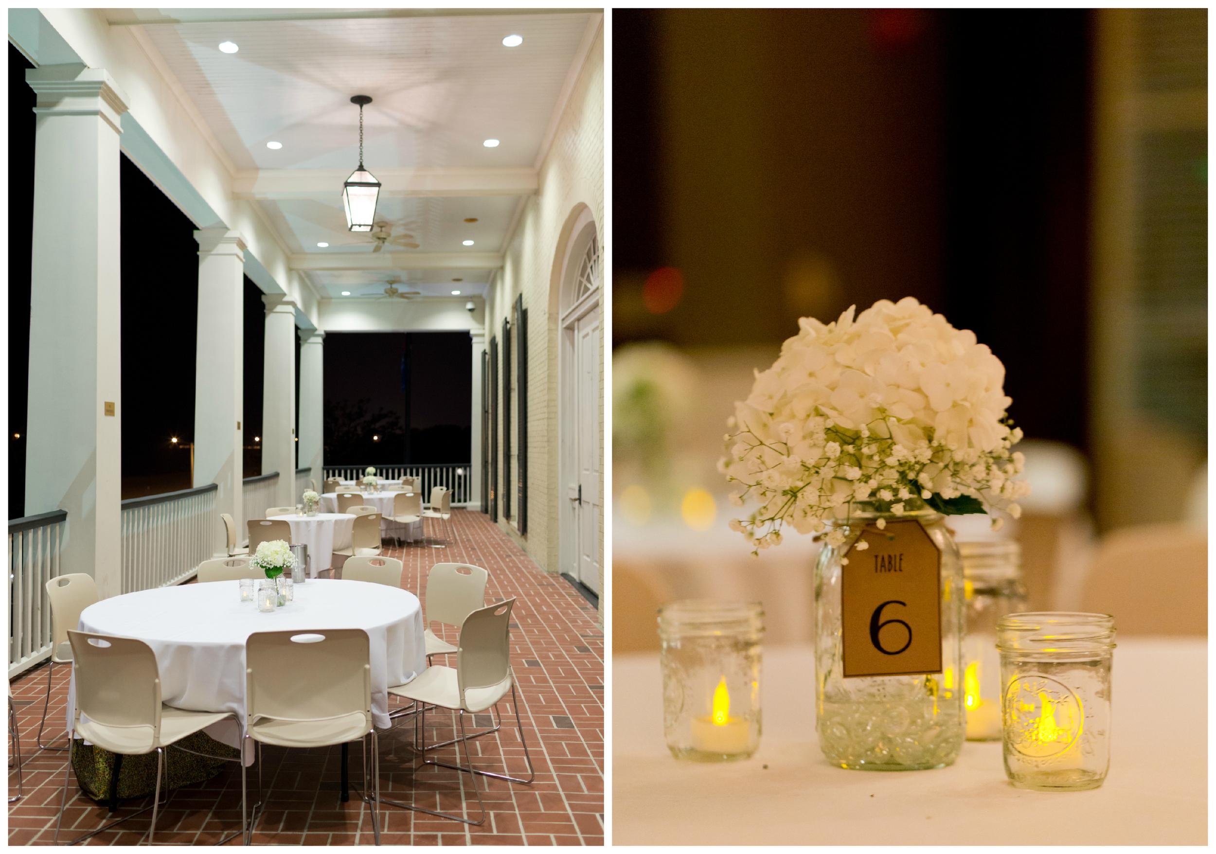 wedding reception table decor with white hydrangeas, mason jars