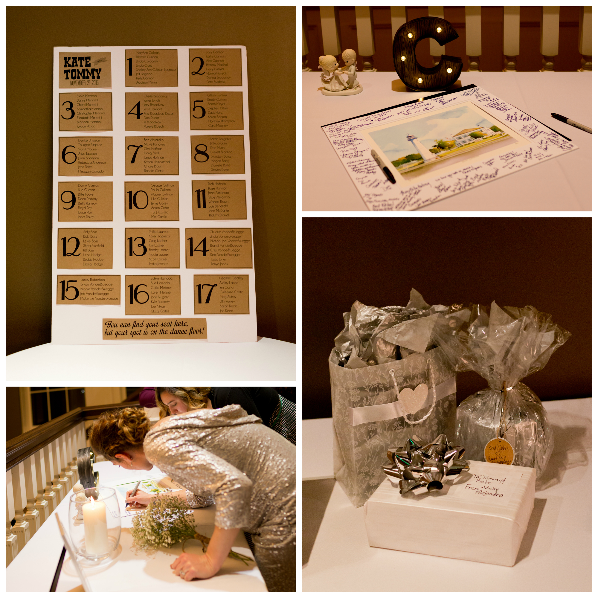 wedding gifts, guestbook, seating chart