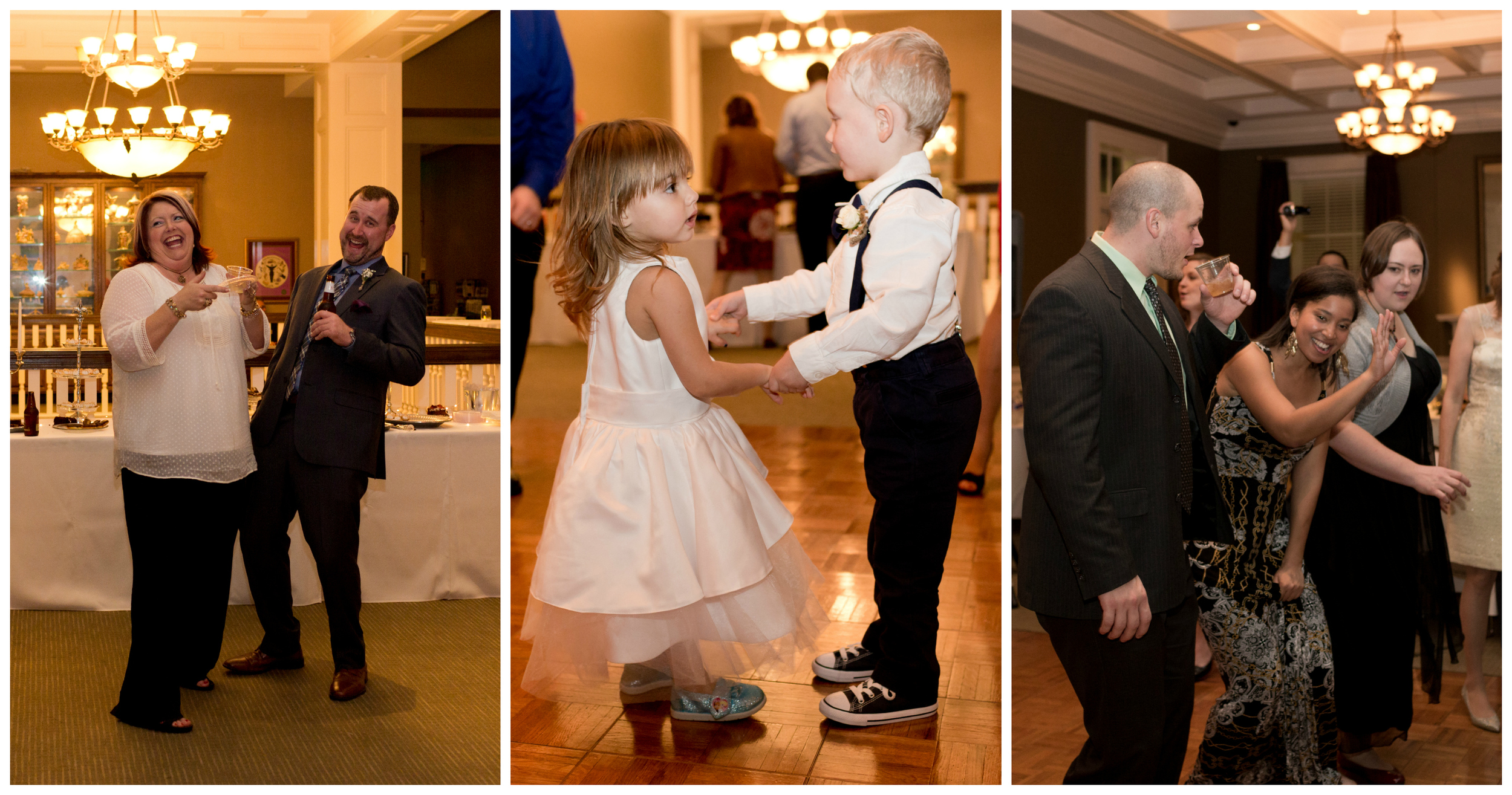cute kids and adults having fun at wedding reception