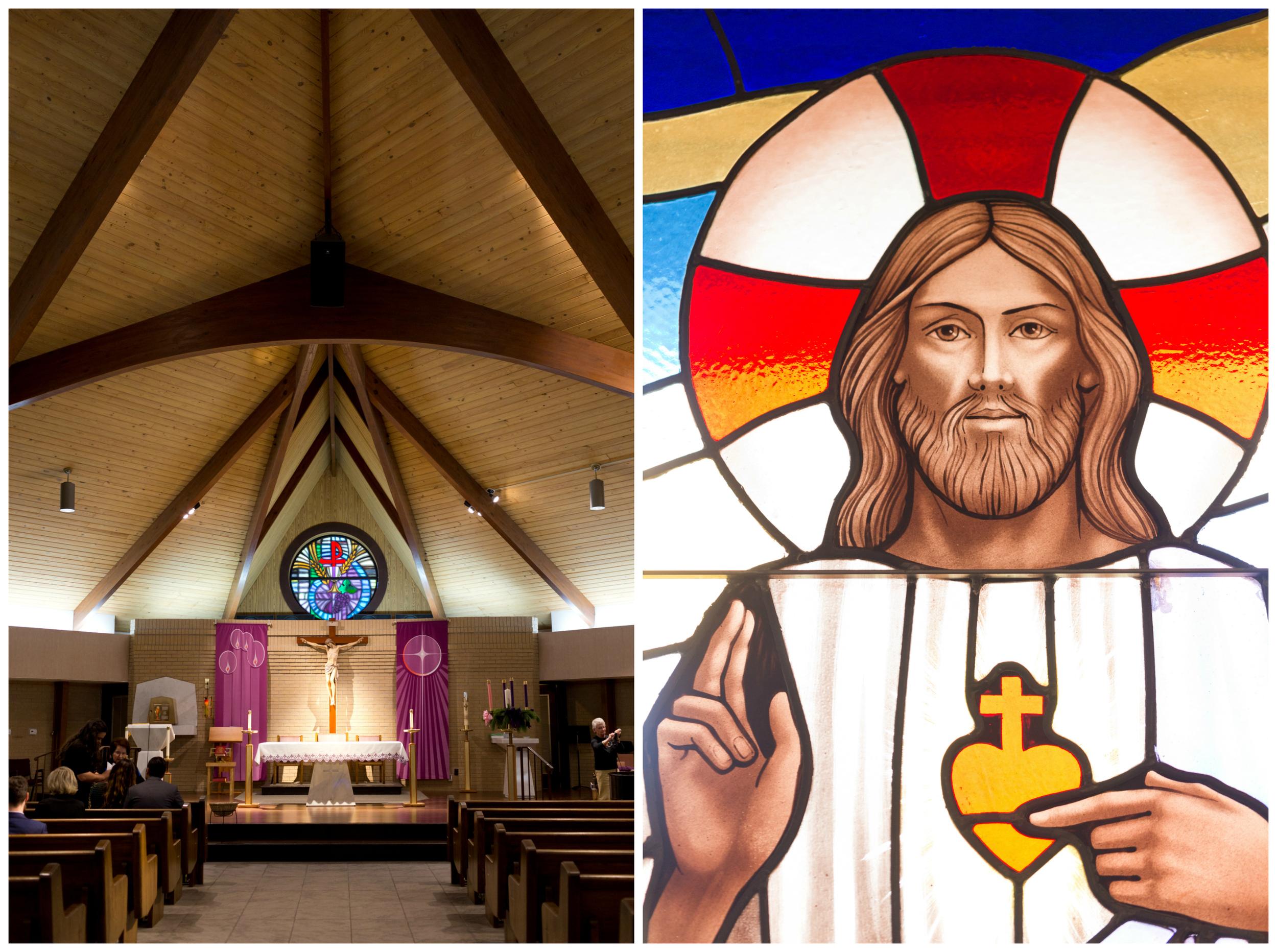 sanctuary and stained glass window (Jesus) at St. Elizabeth Seton Catholic Church