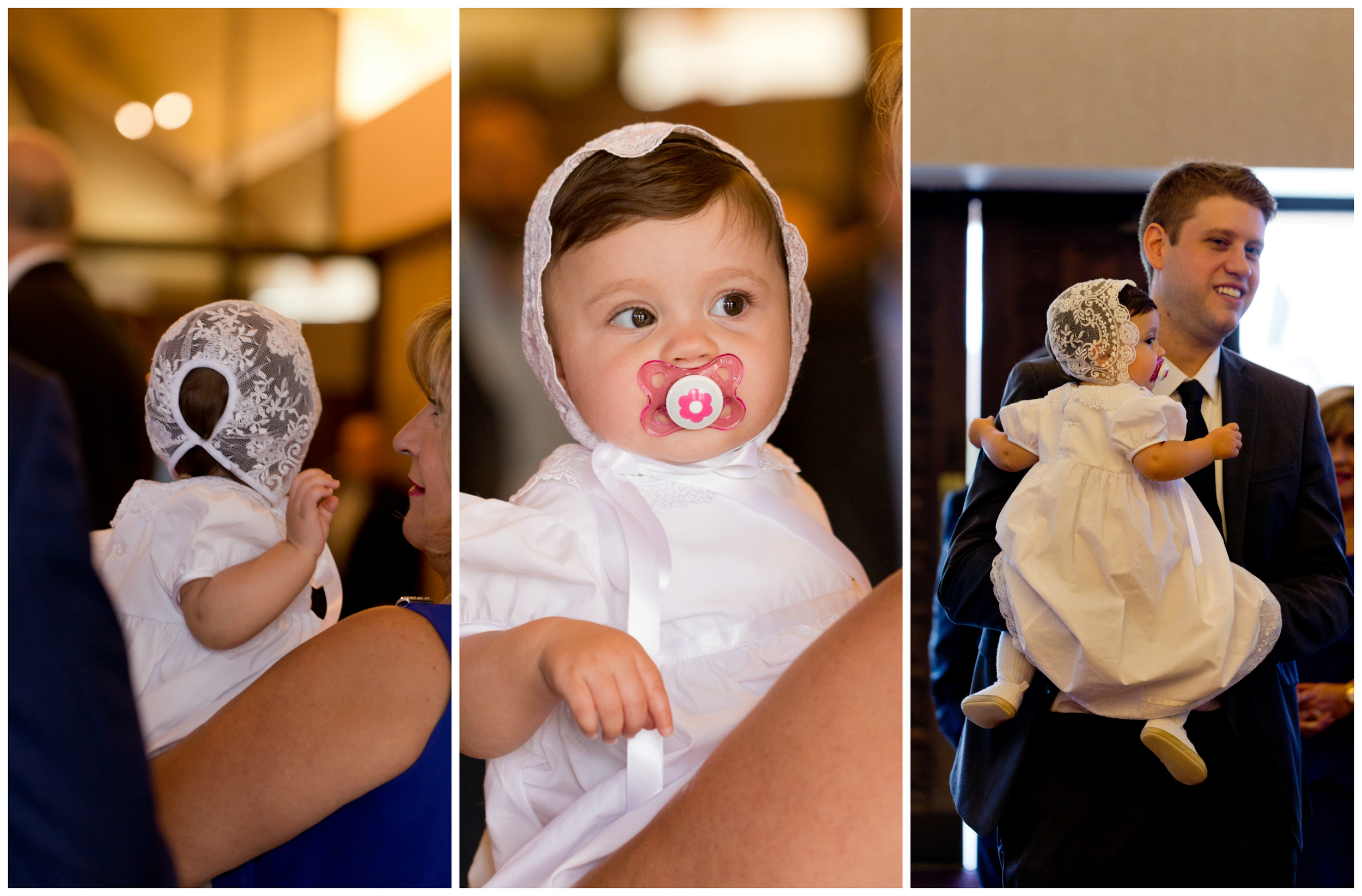 cute baby girl in christening gown and bonnet