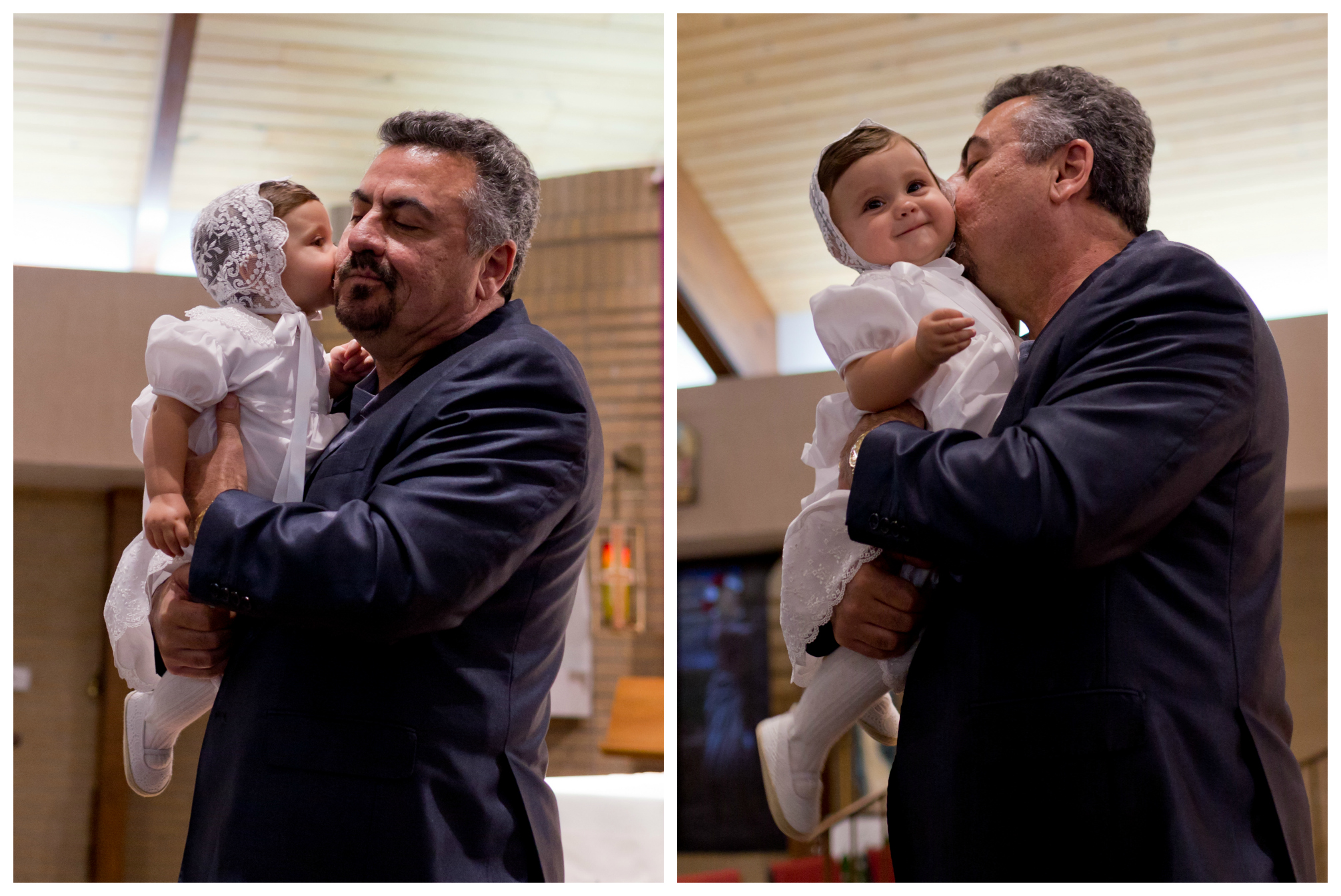 Hispanic grandfather and little girl in christening gown, kisses on cheek