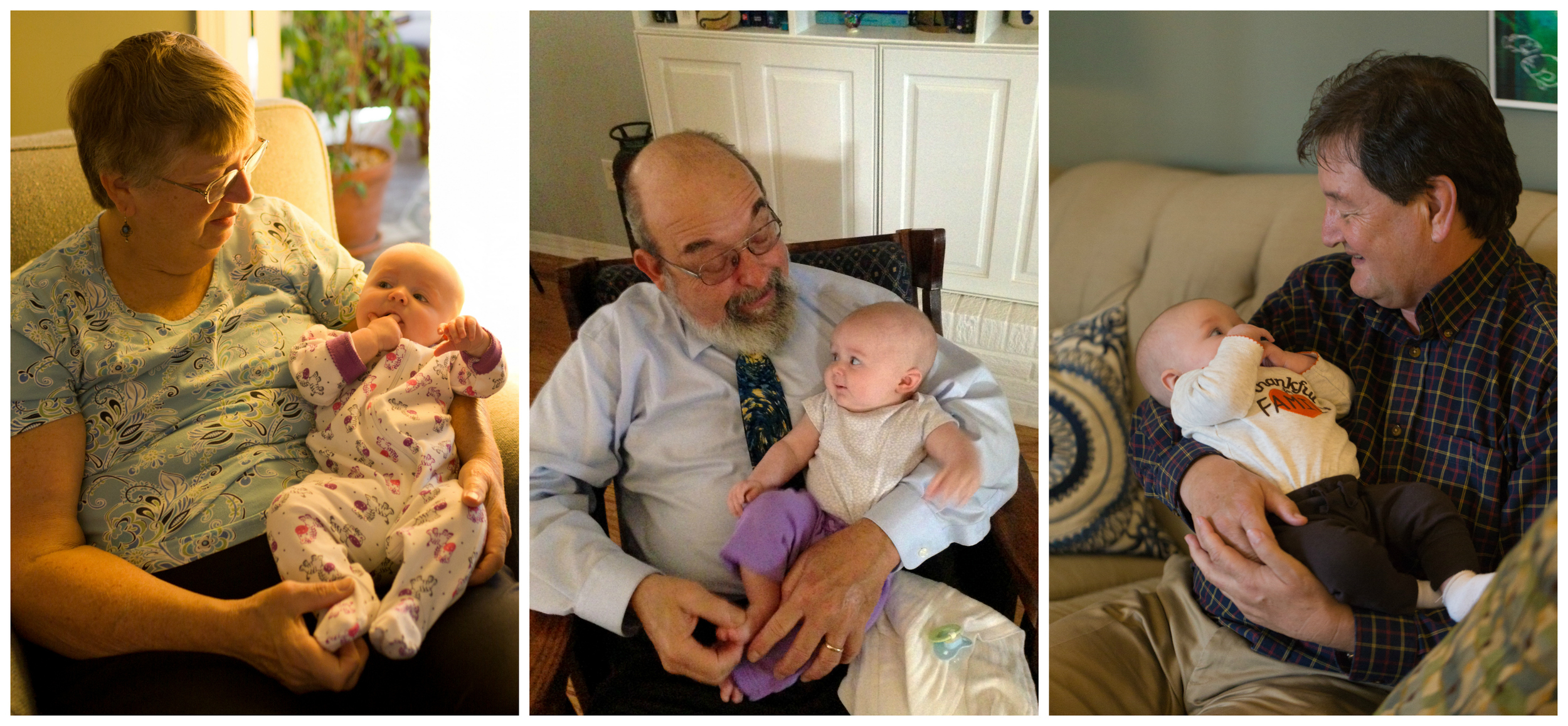 cute baby girl with grandparents
