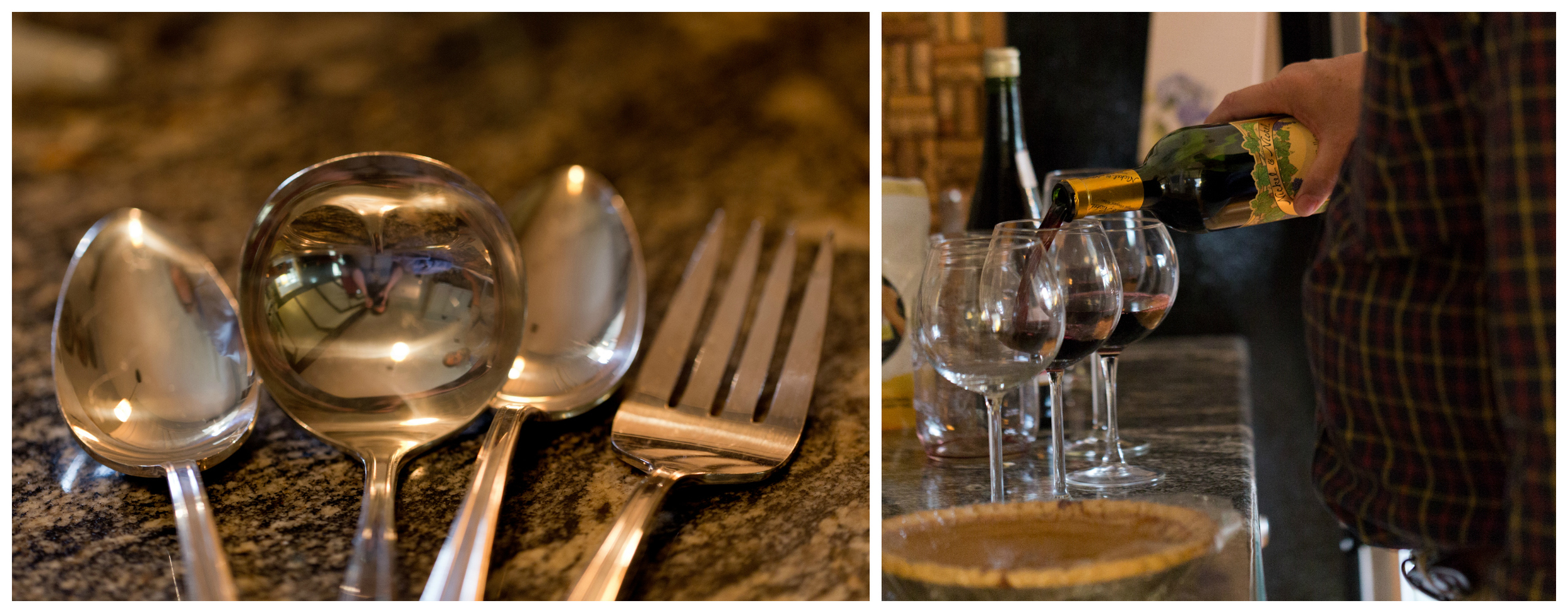silver serving utensils and pouring wine into glasses