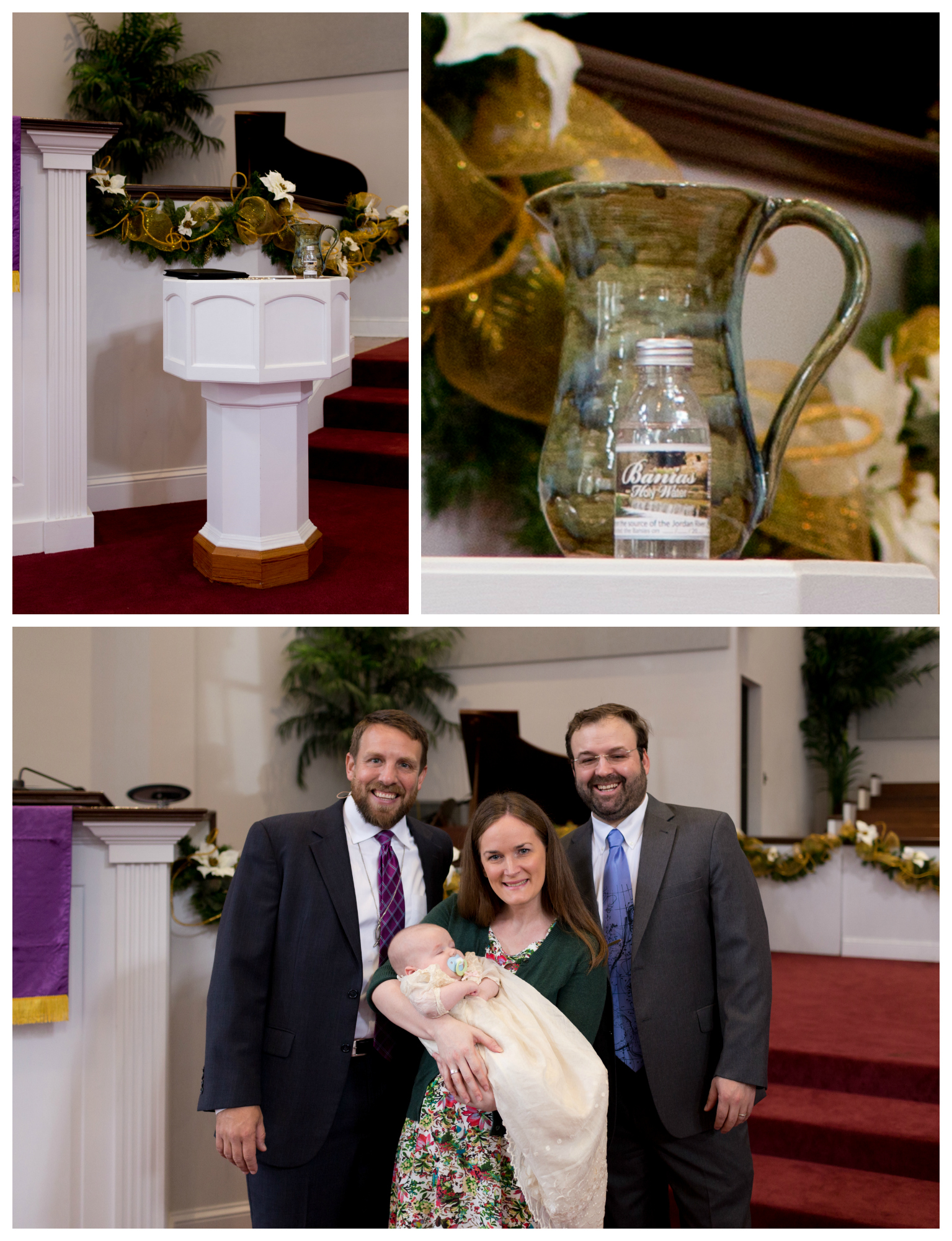 infant baptism at First Presbyterian Church in Ocean Springs (baptismal font, water pitcher)