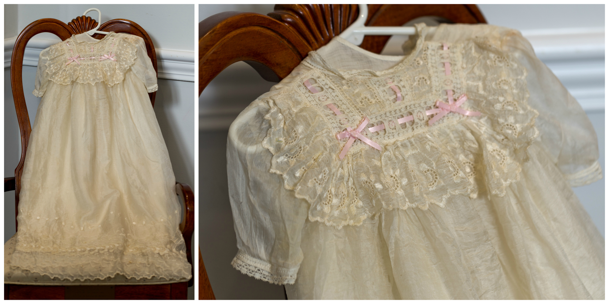 antique christening gown with lace and pink ribbon