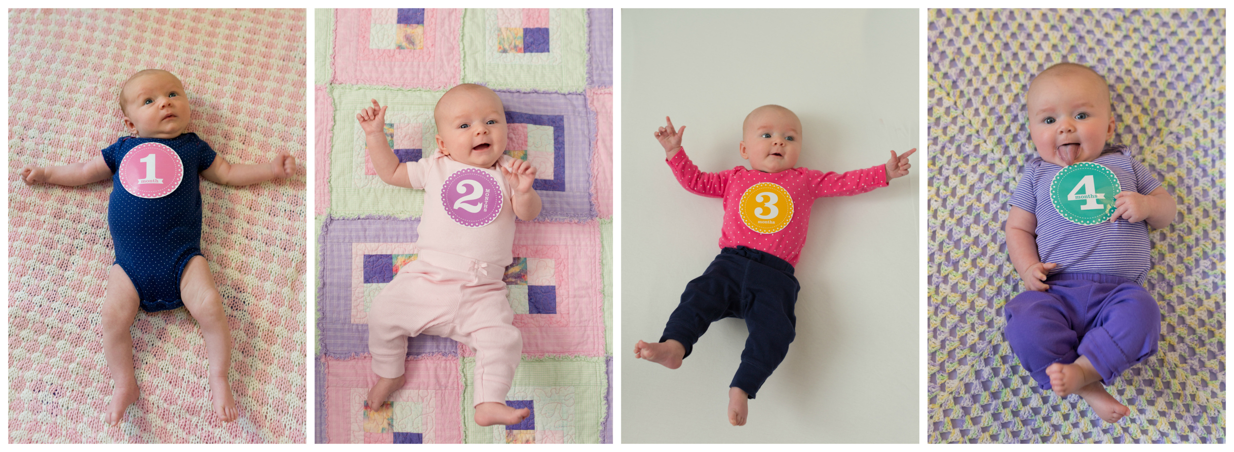 baby girl monthly photos one through four