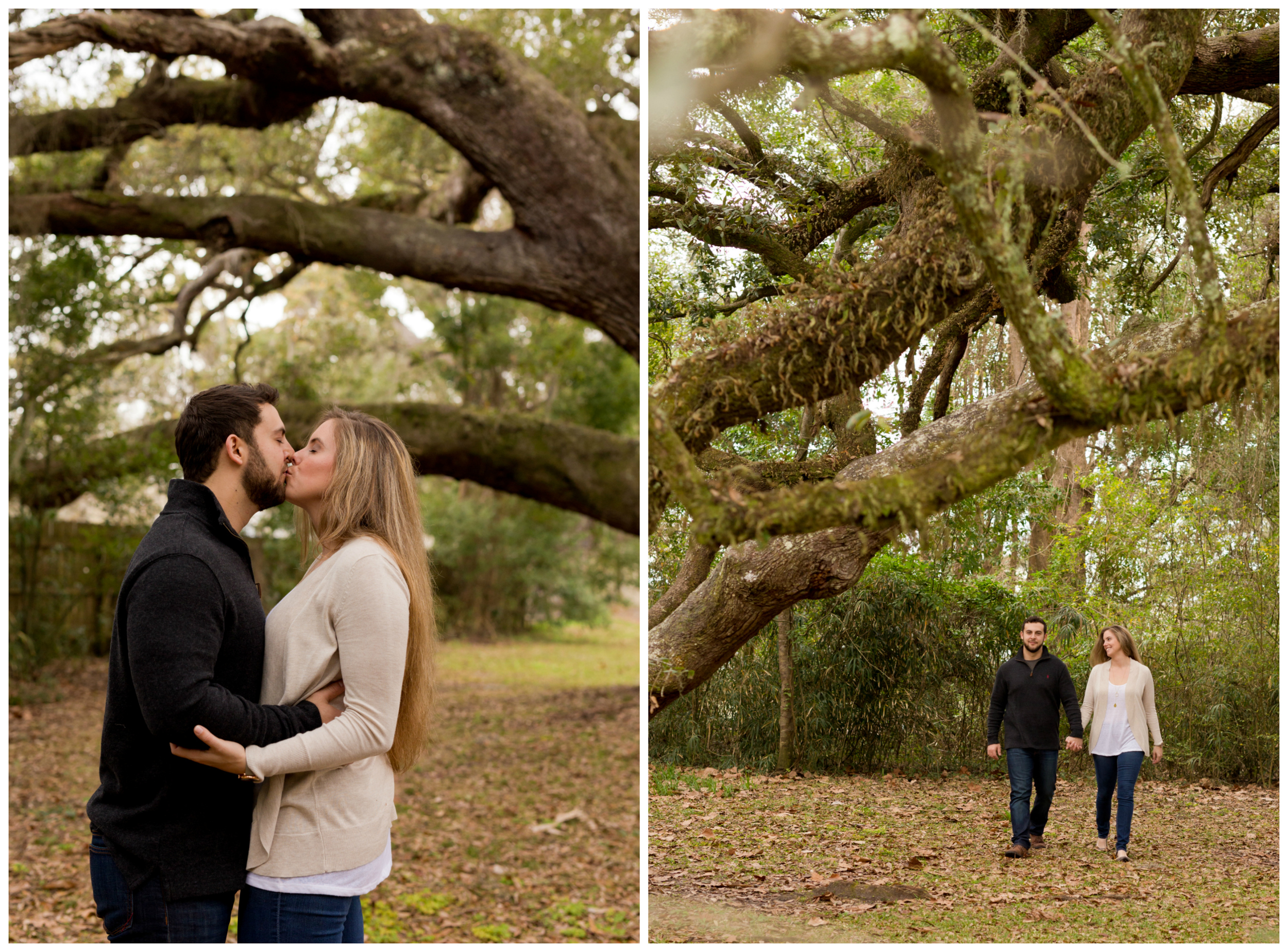 beautiful couple walking and kissing under huge tree
