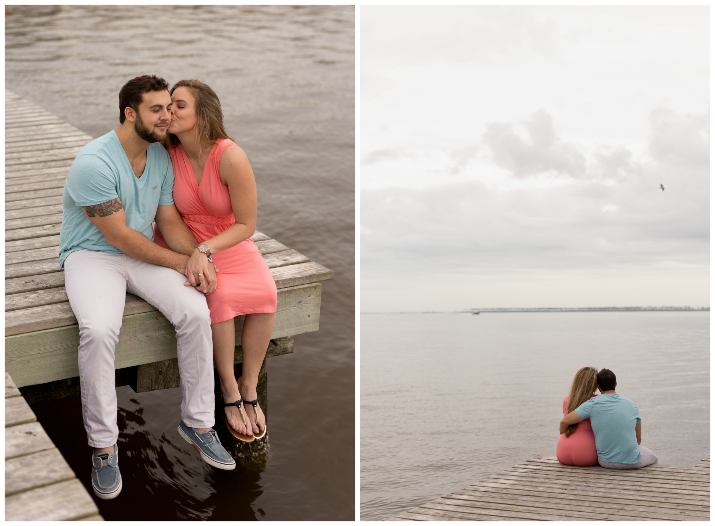 romantic engagement photos at dock on cloudy day