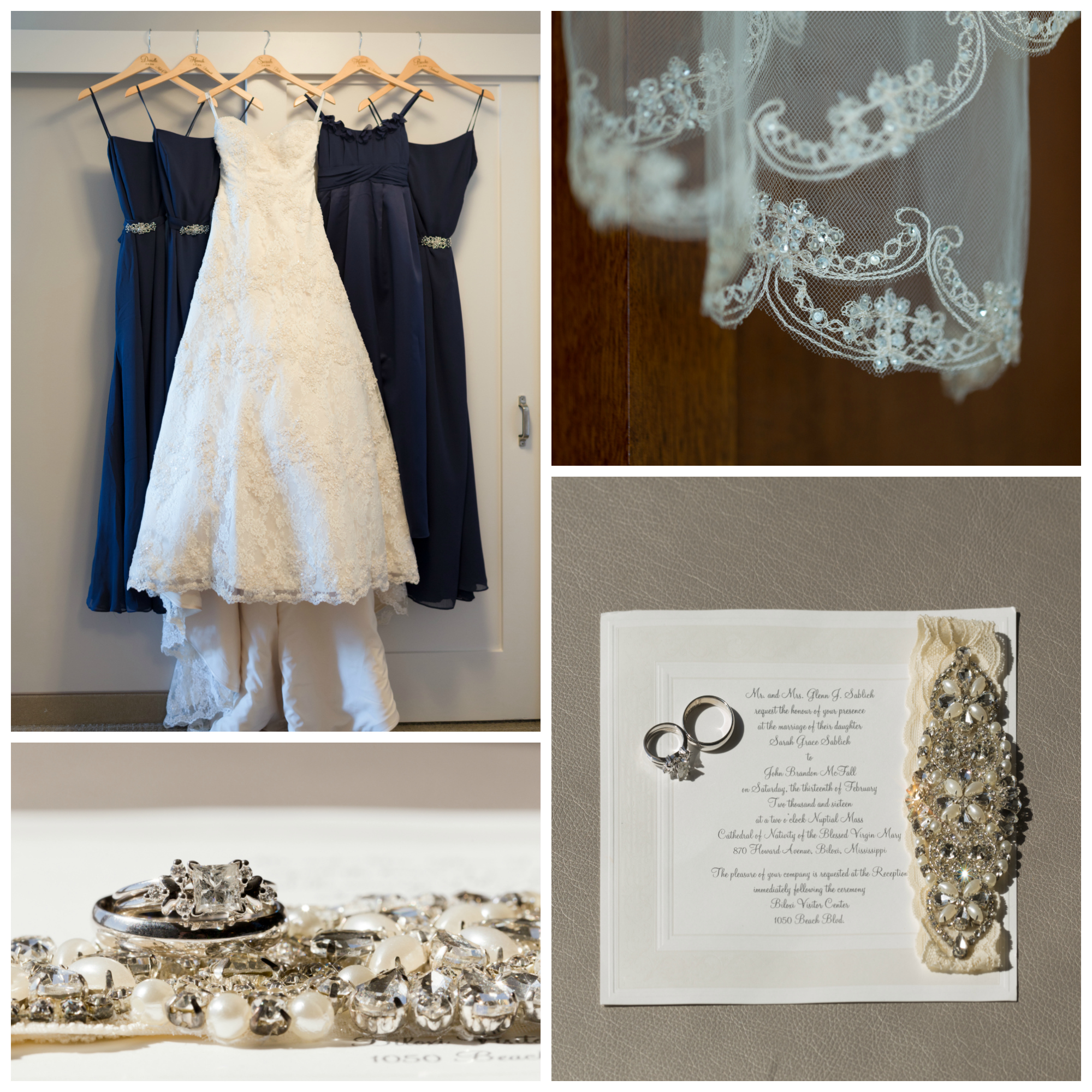 lace wedding dress and veil, navy blue bridesmaids dresses, rings, garter, and invitation details