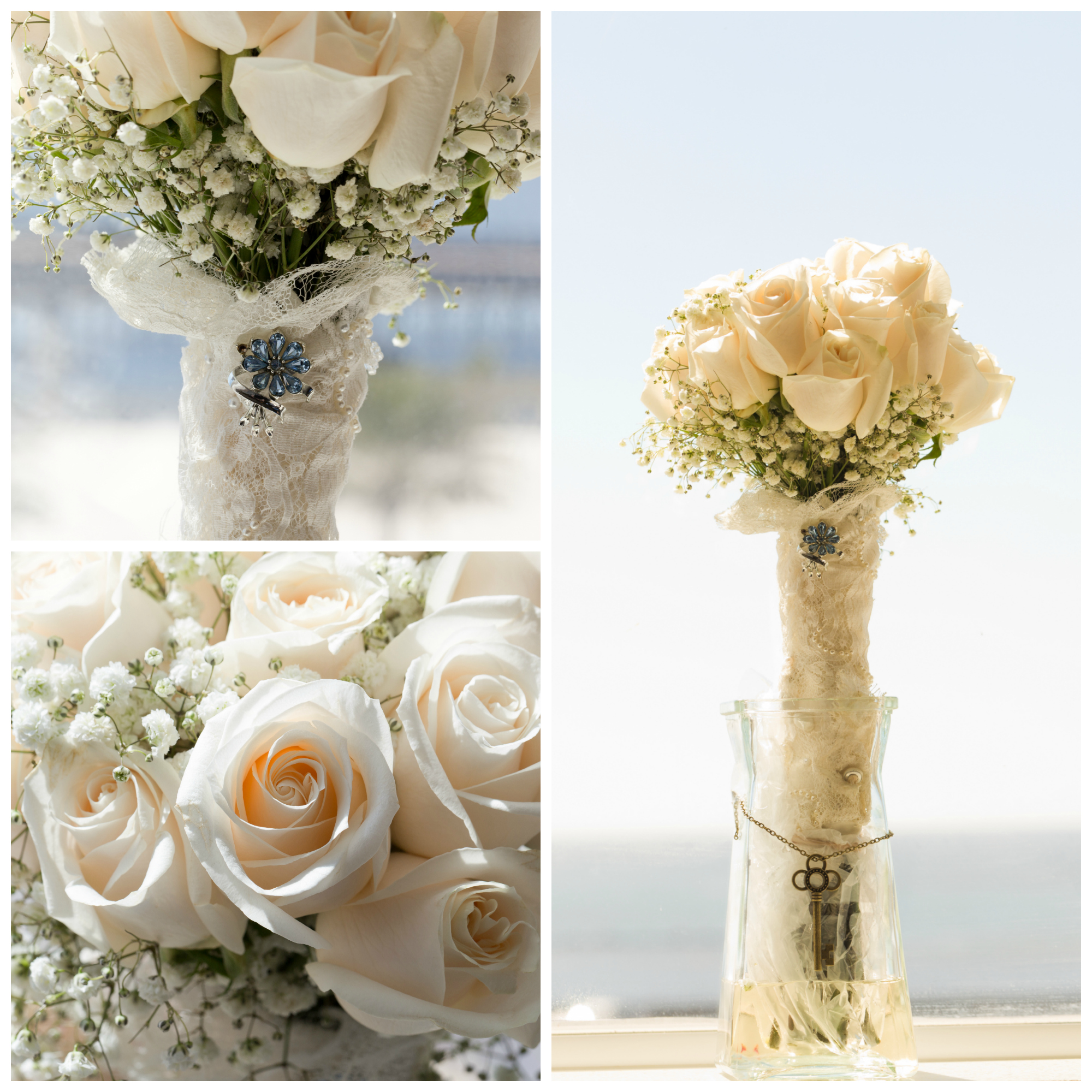"bridal wedding bouquet with white roses, lace, ""something blue"""