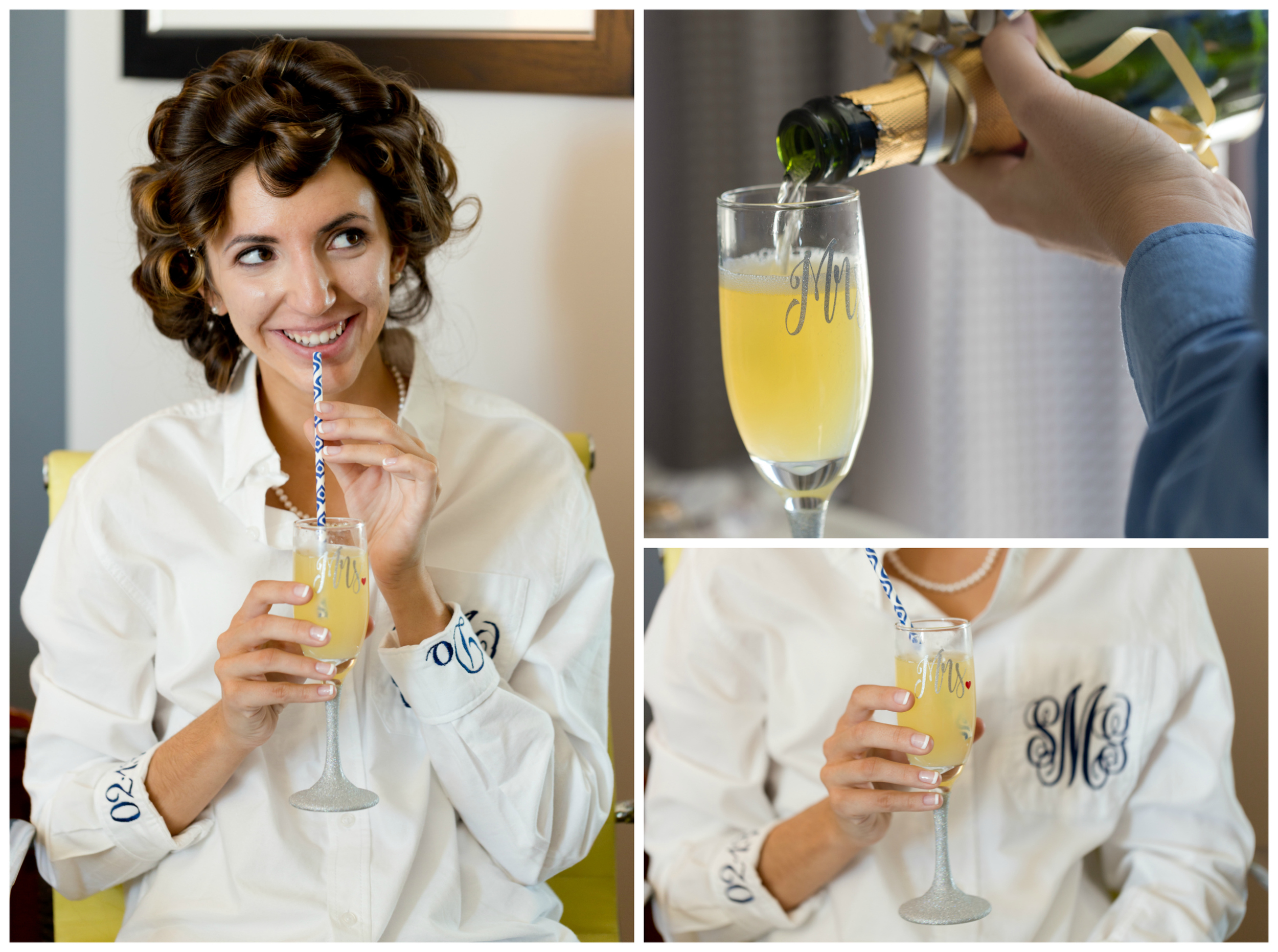 bride with mimosa in Mrs. glass with straw, monogrammed shirt