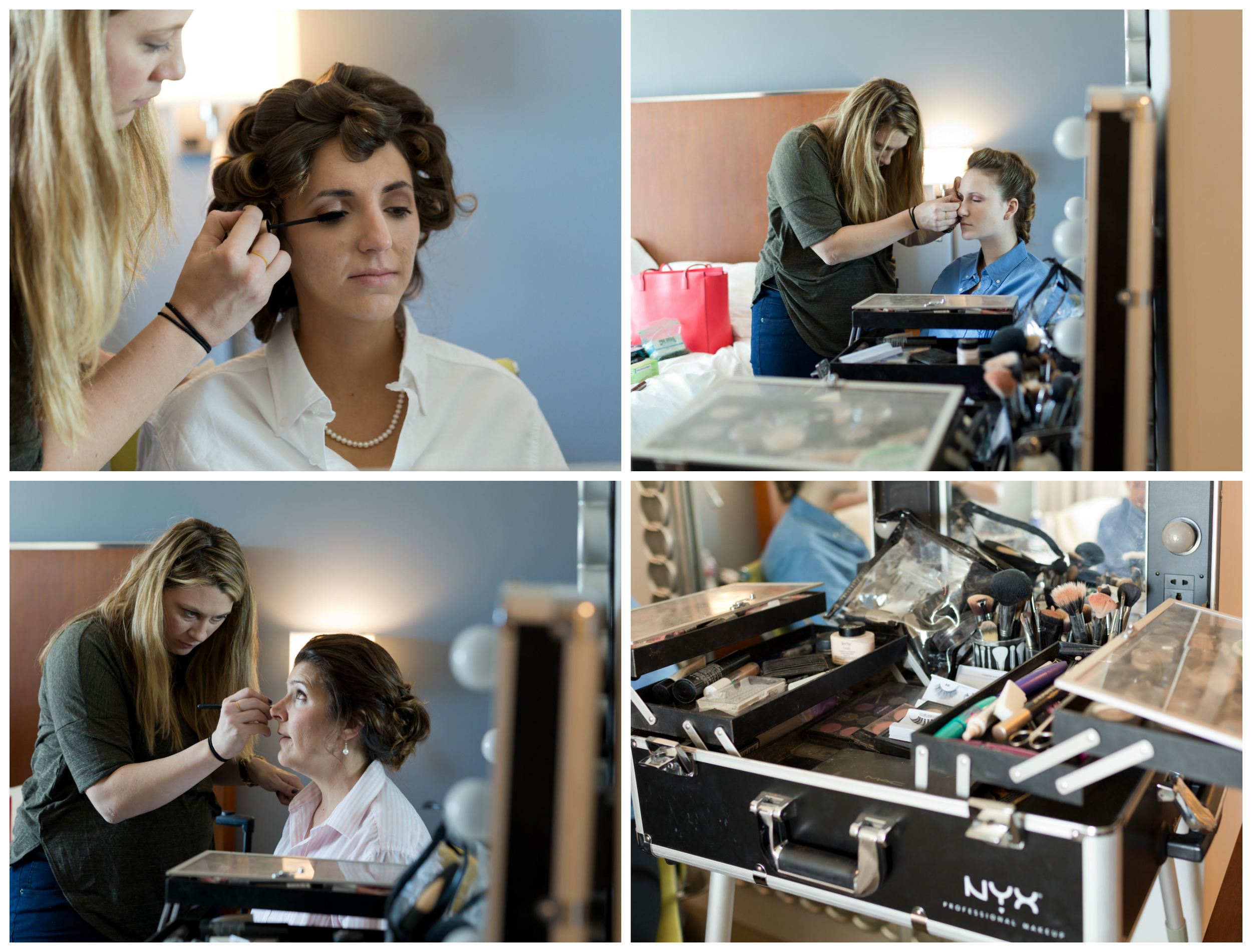 makeup artist with bride, mom, and bridesmaid
