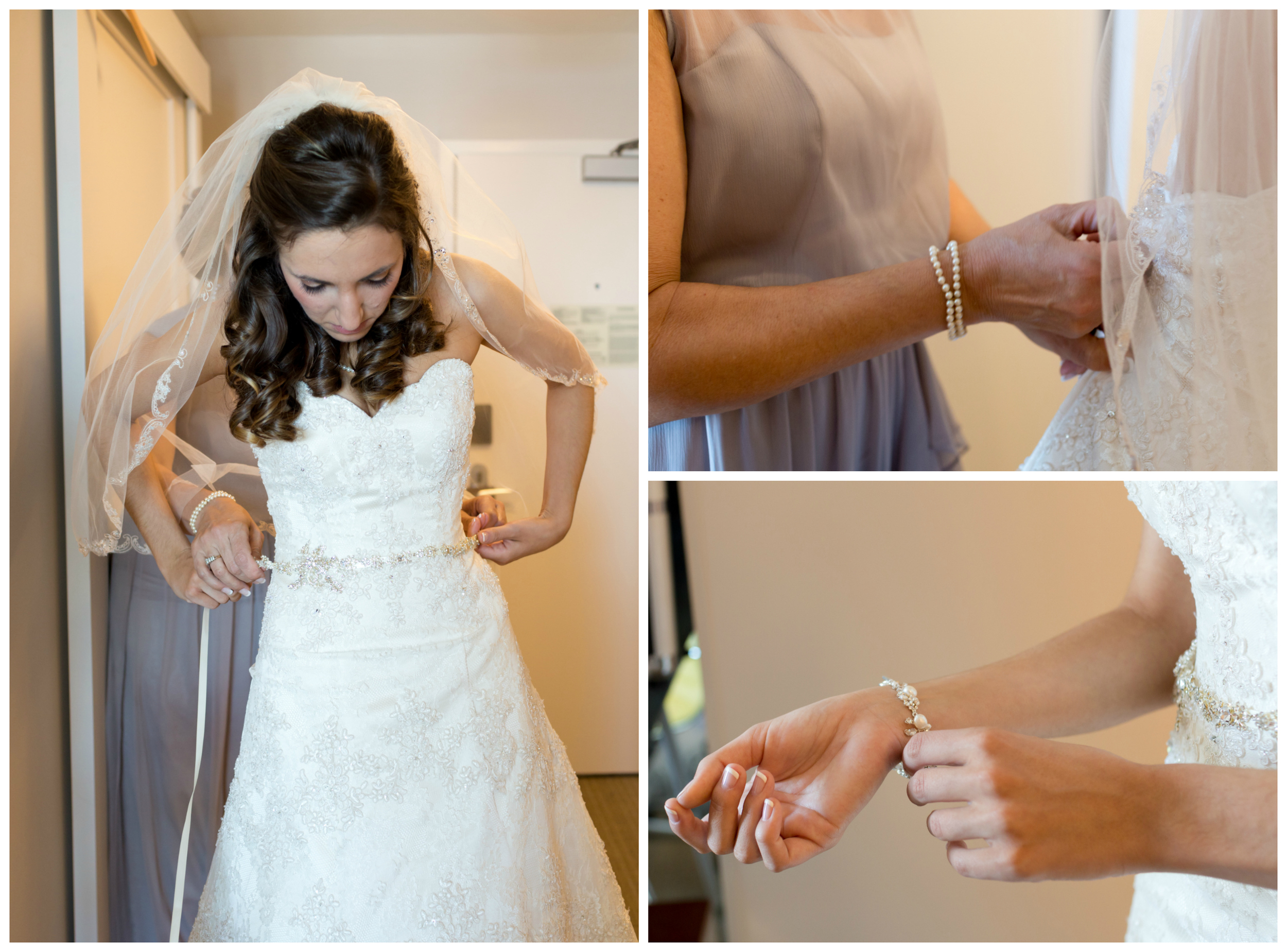bride getting dressed with belt, bracelet, mom zipping dress