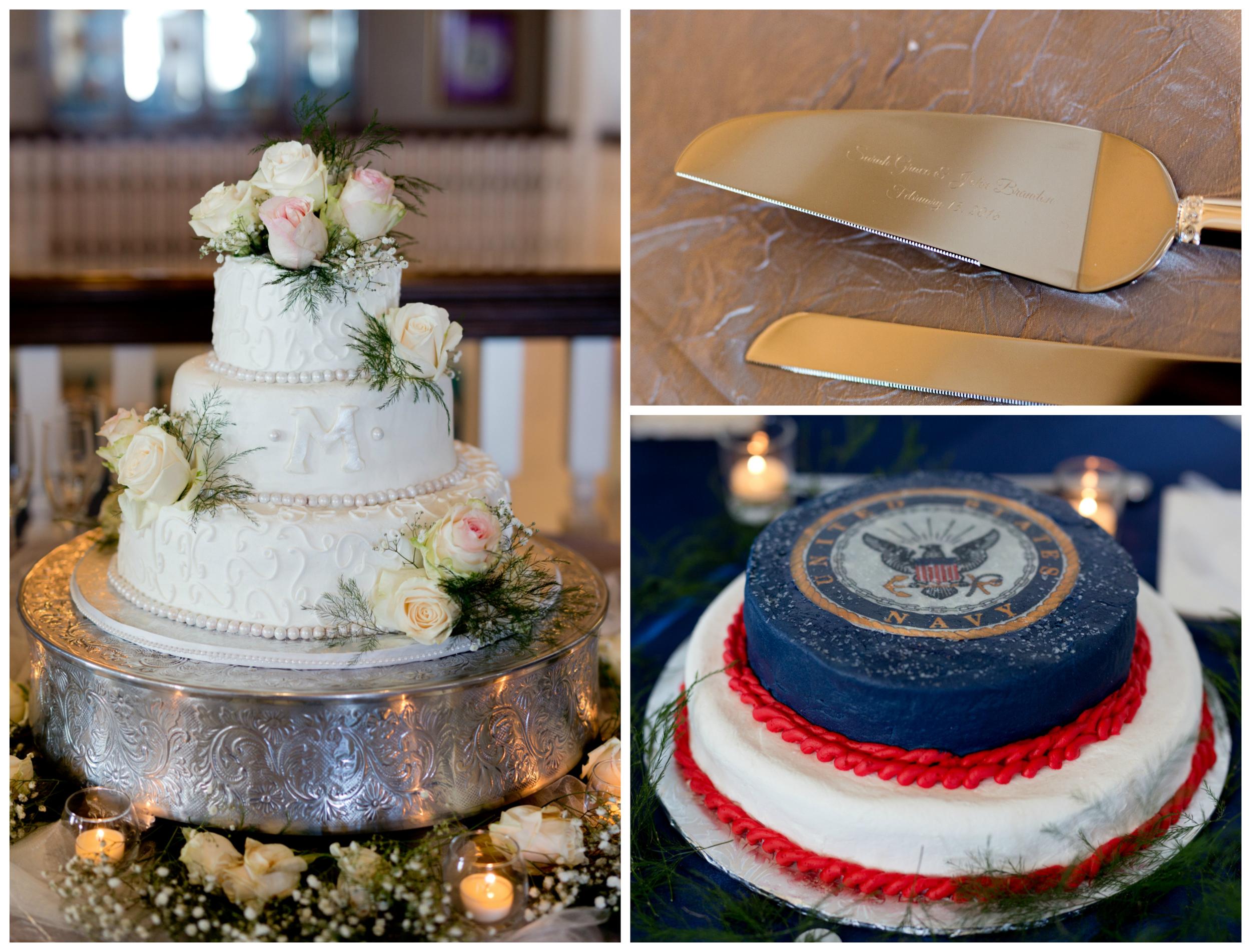 wedding cake and US Navy groom's cake