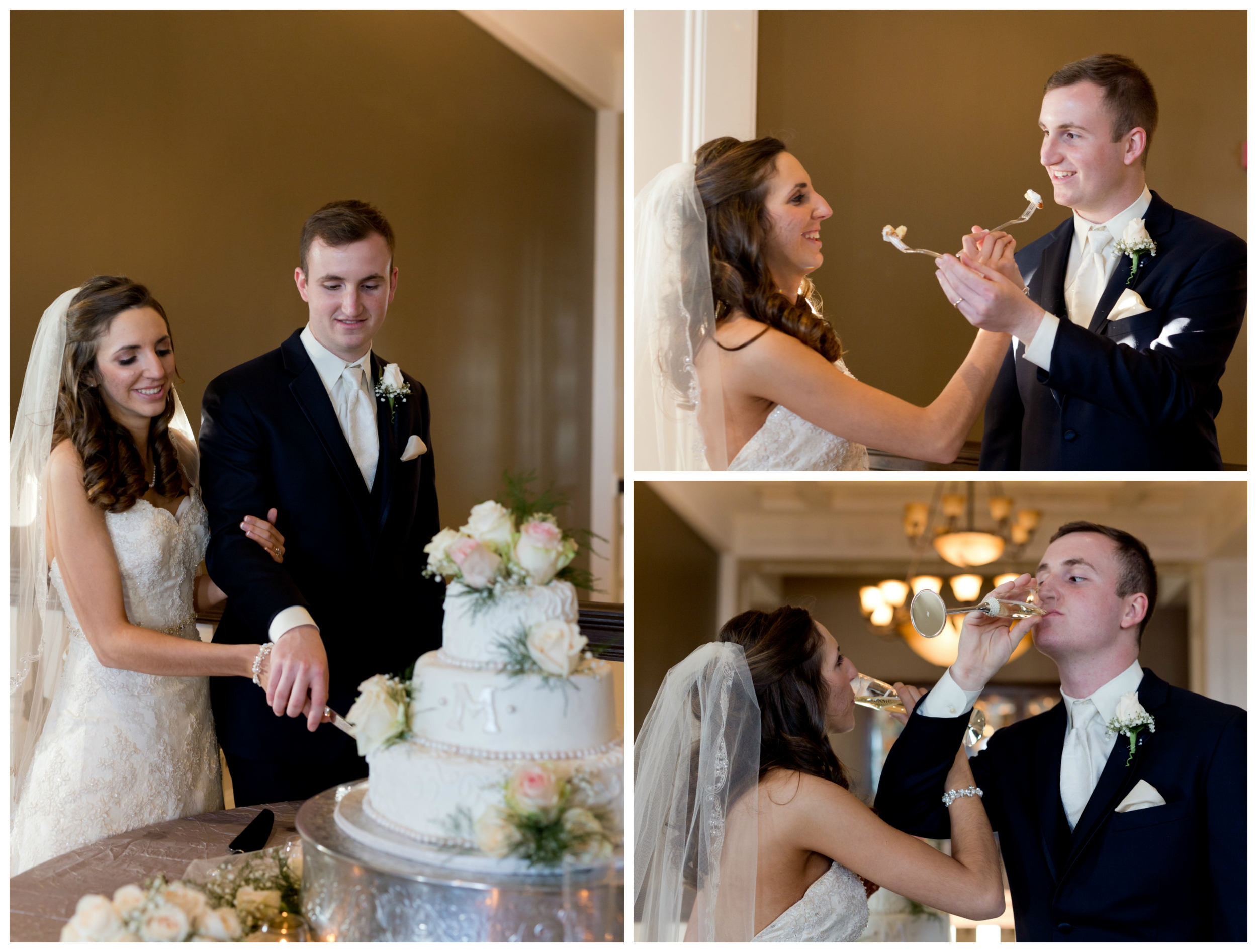bride and groom cutting wedding cake and drinking champagne