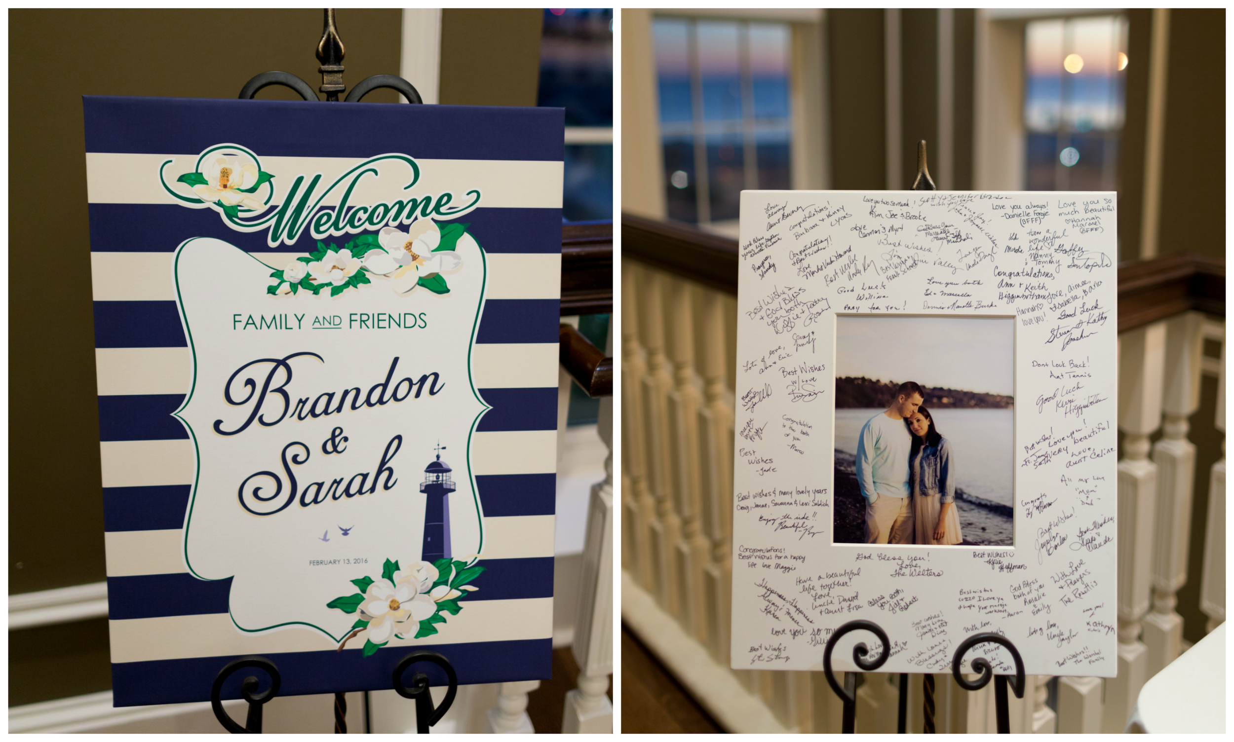 wedding reception welcome sign and mat guest book